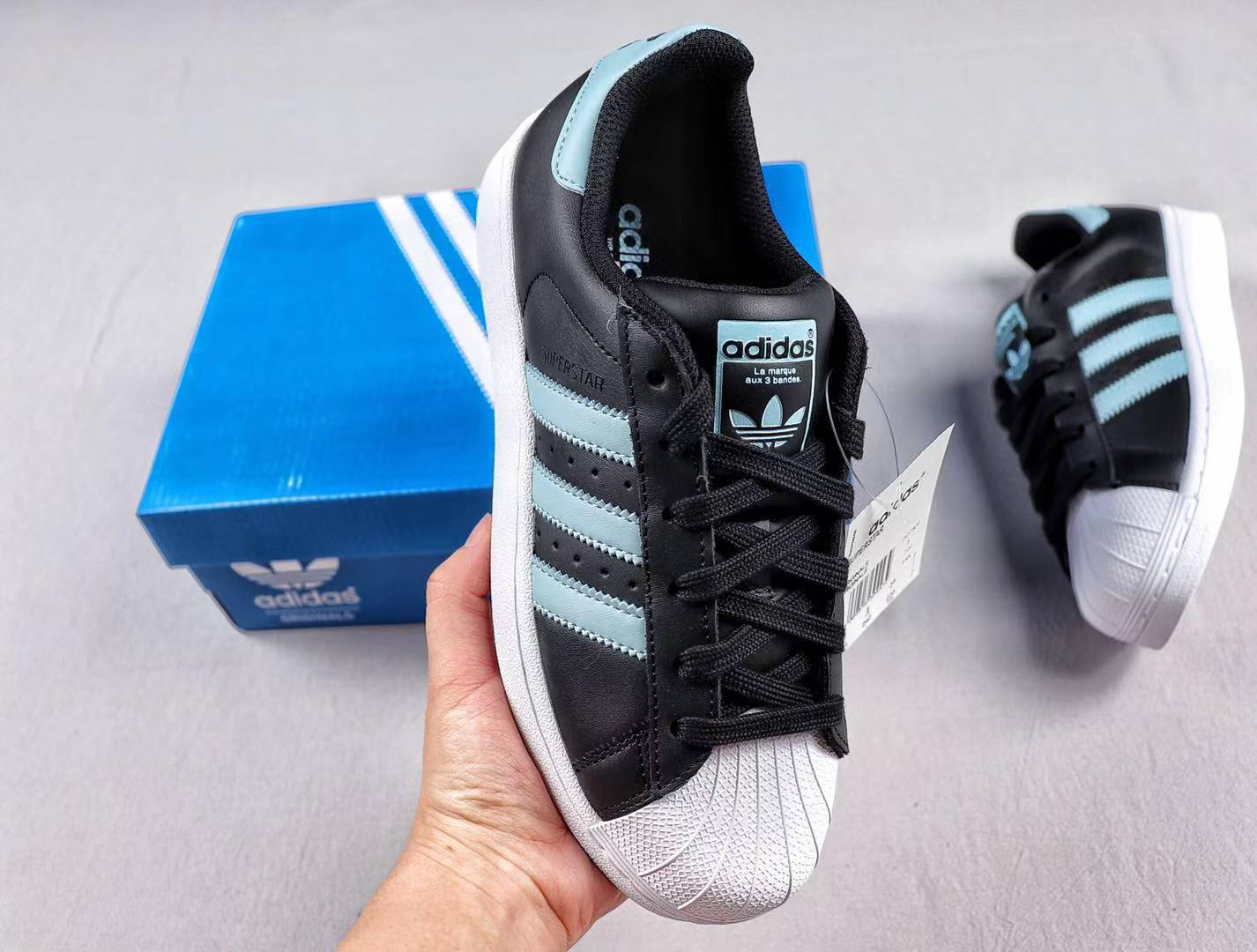 Adidas Superstar Black/Shallow Blue G27808 Leather Sneakers For Sale