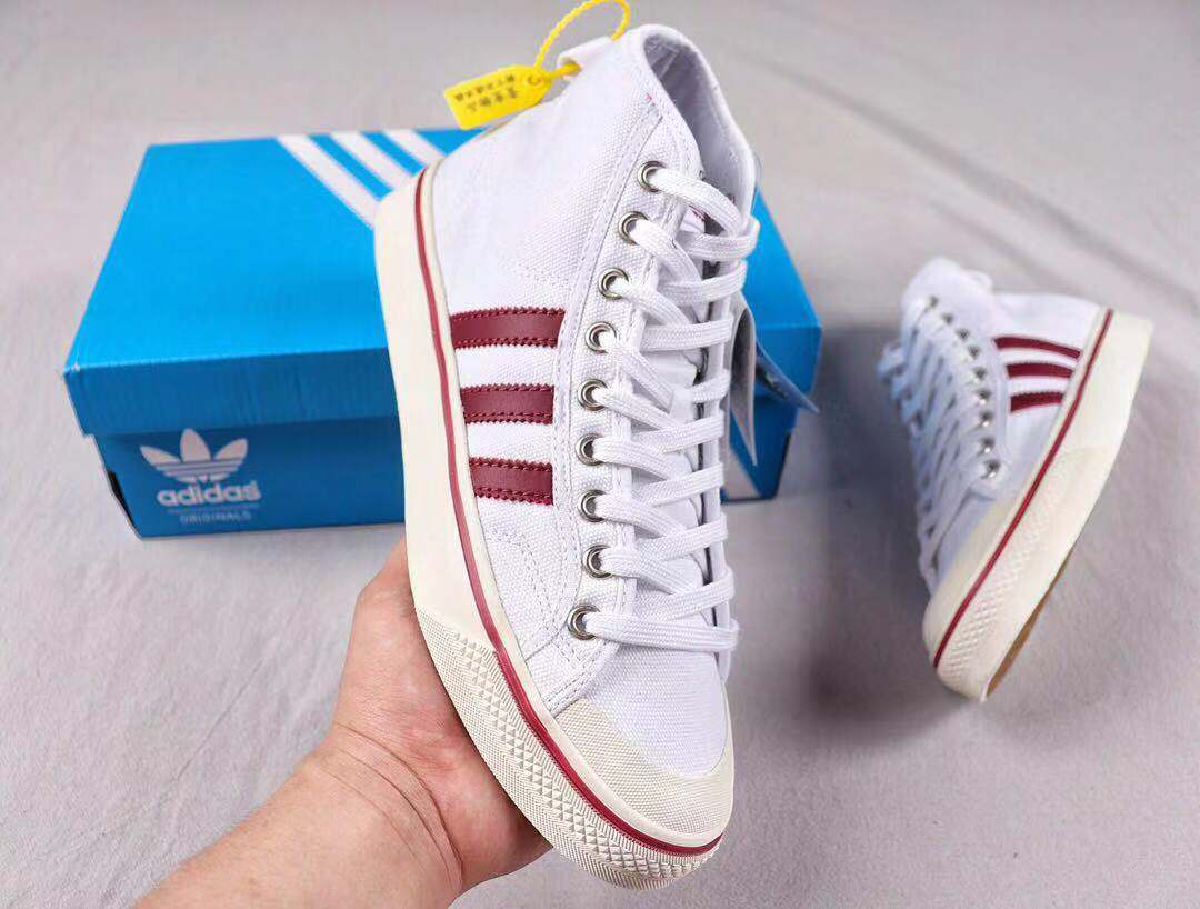Adidas Nizza High-Top White/Red Lifestyle Shoes Cheap Sale CQ3138