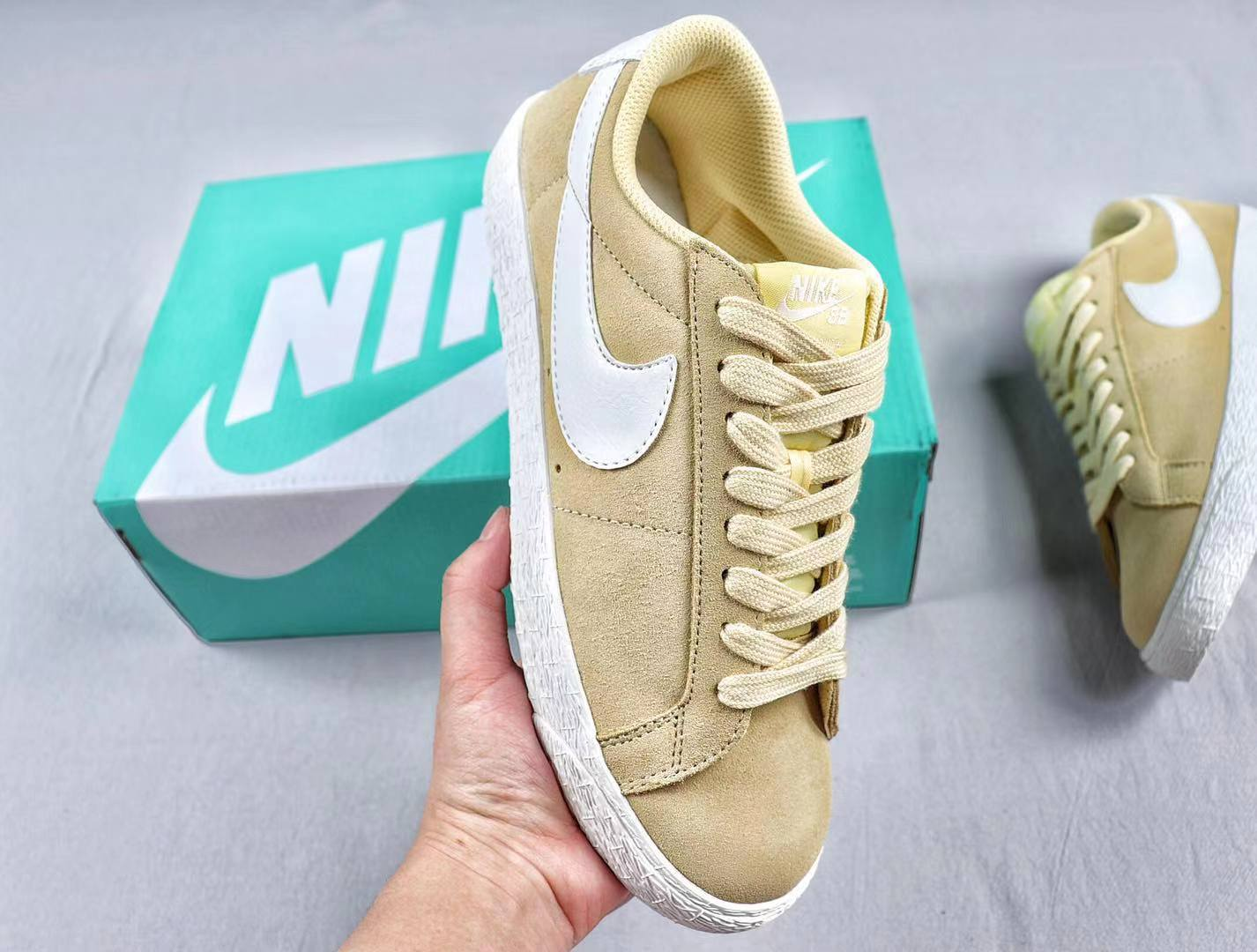 Best Sell Nike Air Blazer Low Suede Elemental Gold White Sneakers 371760-700