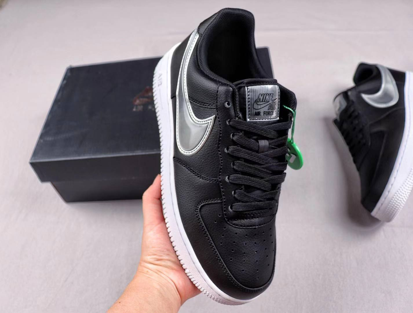 Buy Nike Air Force 1 Low Oversized Swoosh Black/White Lifestyle Shoes AO2441-003
