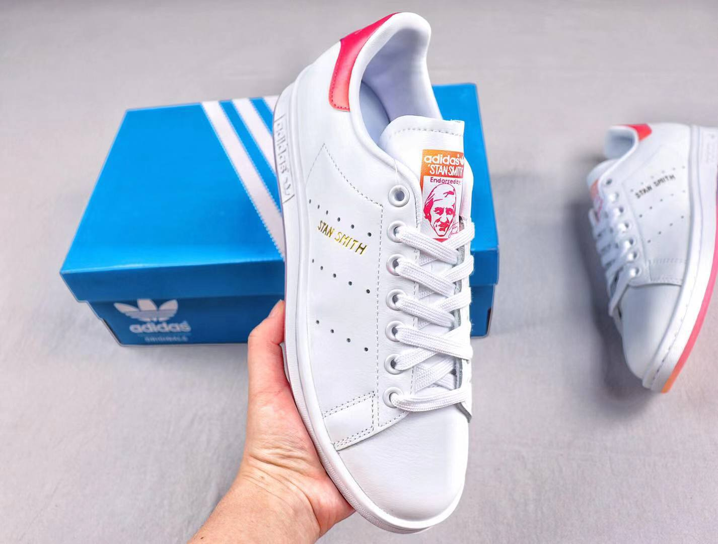 Discount Adidas Stan Smith Junior Trainer White/Red Lifestyle Shoes EG8133