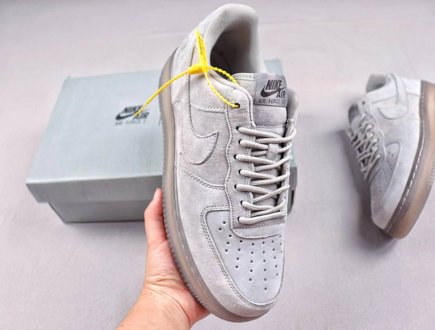Discount Nike Air Force 1 Low x Reigning Champ AA1117 119 Grey Suede