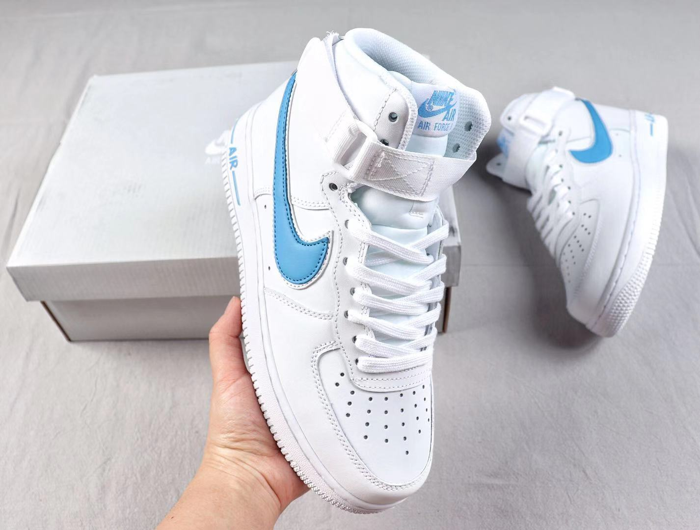 2019 Buy Nike Air Force 1'07 High White/Photo Blue Fashion Shoes AT4141-102