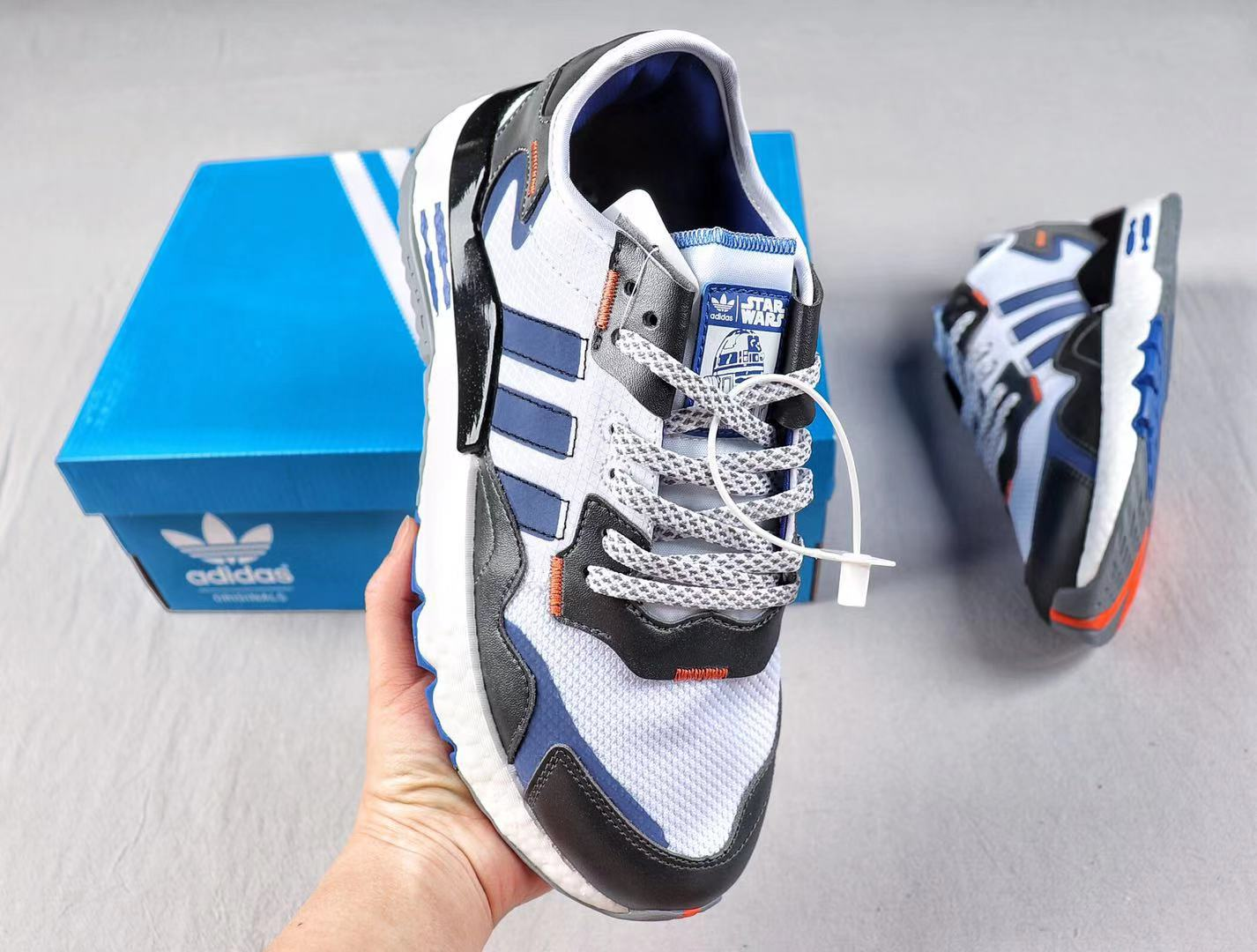 Adidas Nite Jogger 2019 Boost White/Black-Blue Running Shoes Hot Sale