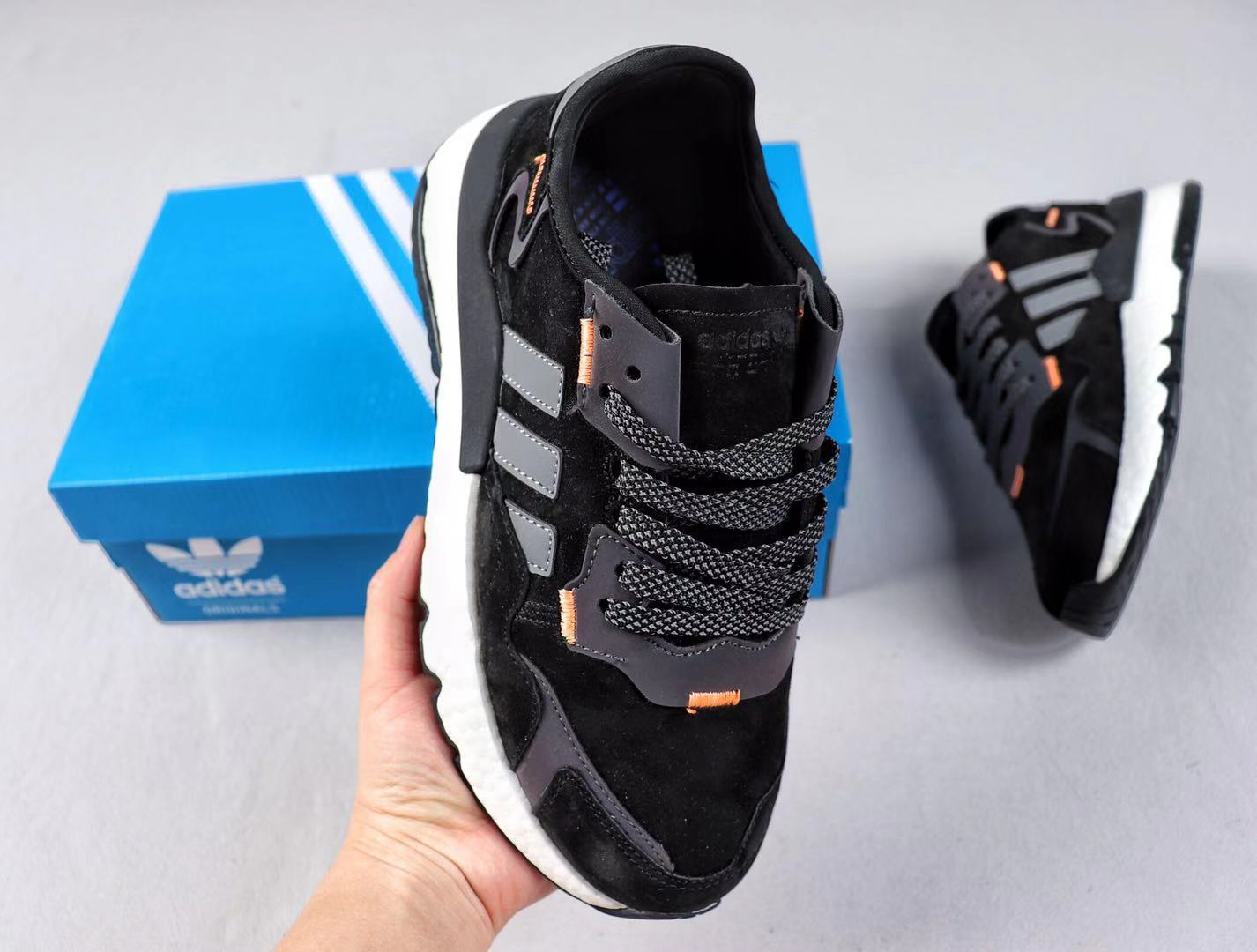 Adidas Nite Jogger 2019 Boost EG4933 Black/Dark Grey Running Shoes Hot Sale