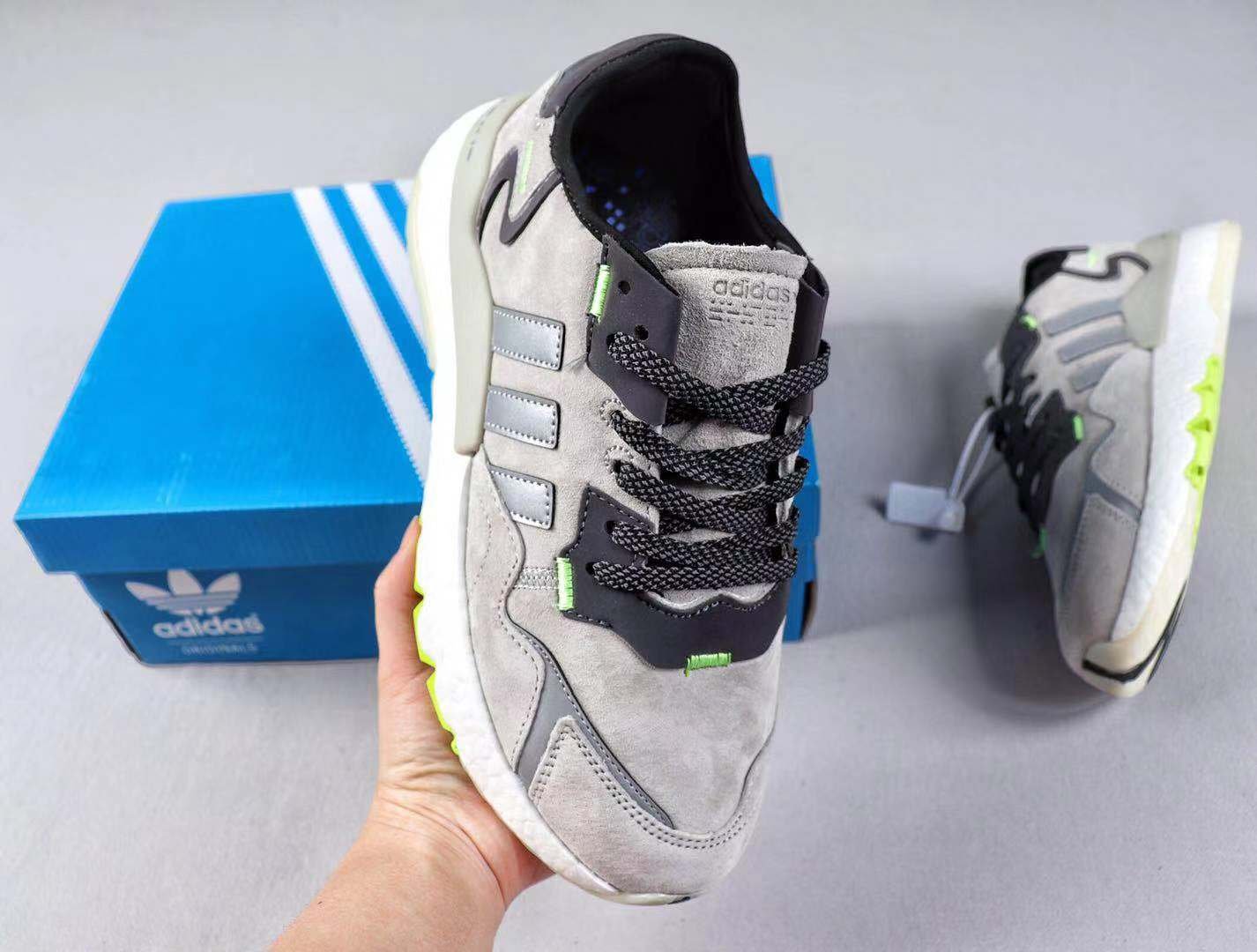 Adidas Nite Jogger 2019 Boost Wolf Grey/Black-Grey Best Sell Shoes EG4935