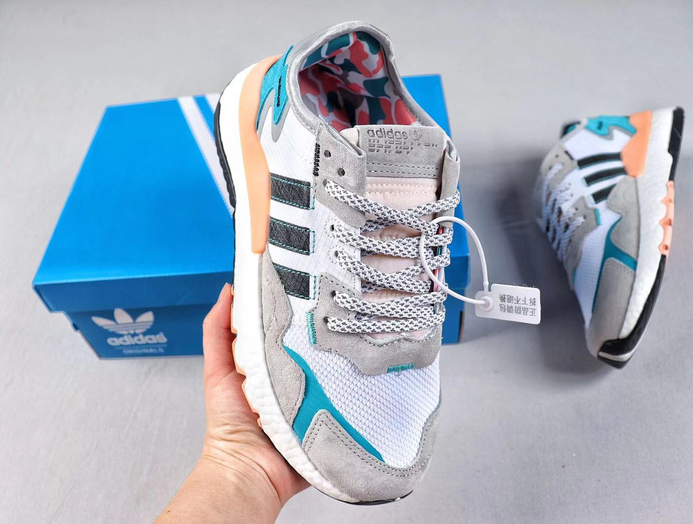 Adidas Nite Jogger FV3852 Wolf Grey/White-Lake Blue Top Shoes Online Sale