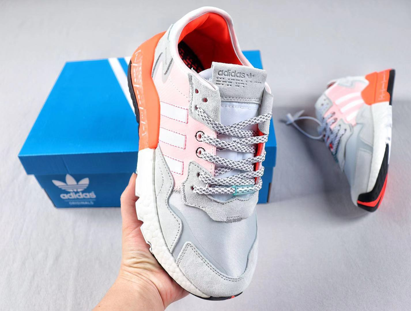 Adidas Nite Jogger White/Solar Red Best Sell Casual Trainers EH0249