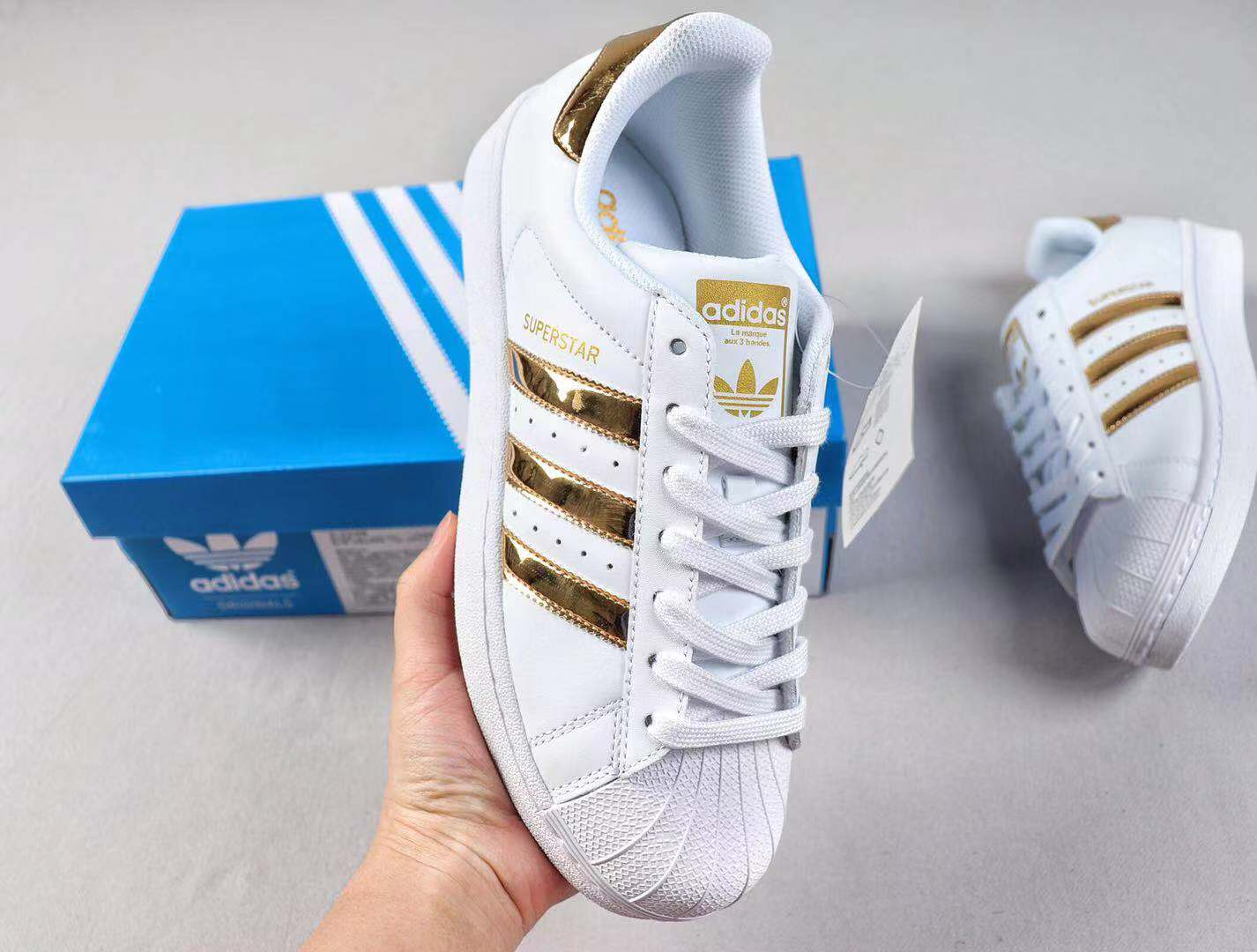 Adidas Superstar Original Newest Shoes Cloud White/Metallic Gold S81872