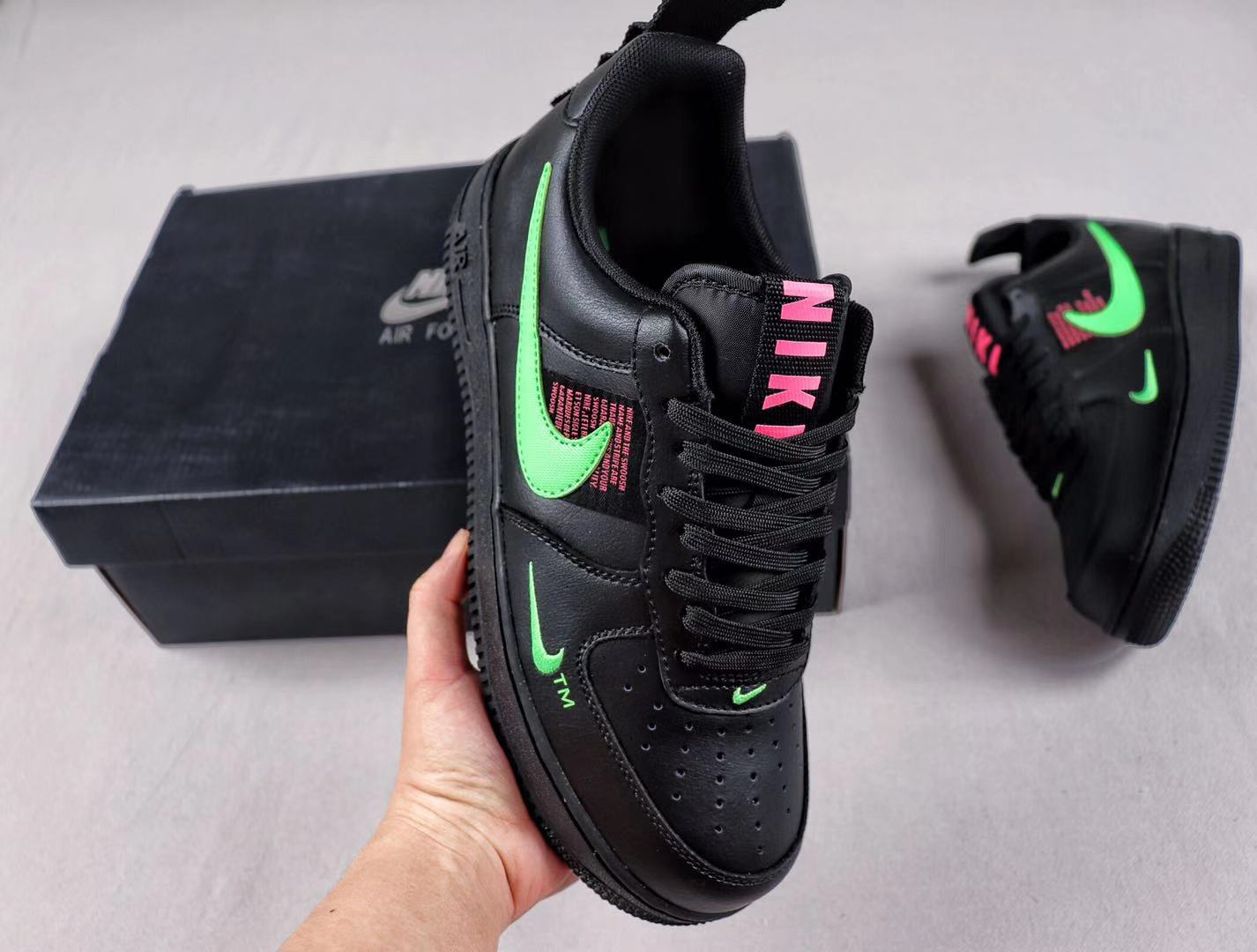 Air Force 1 Black/Hyper Pink-Scream Green Newest Shoes To Buy CQ4611-001
