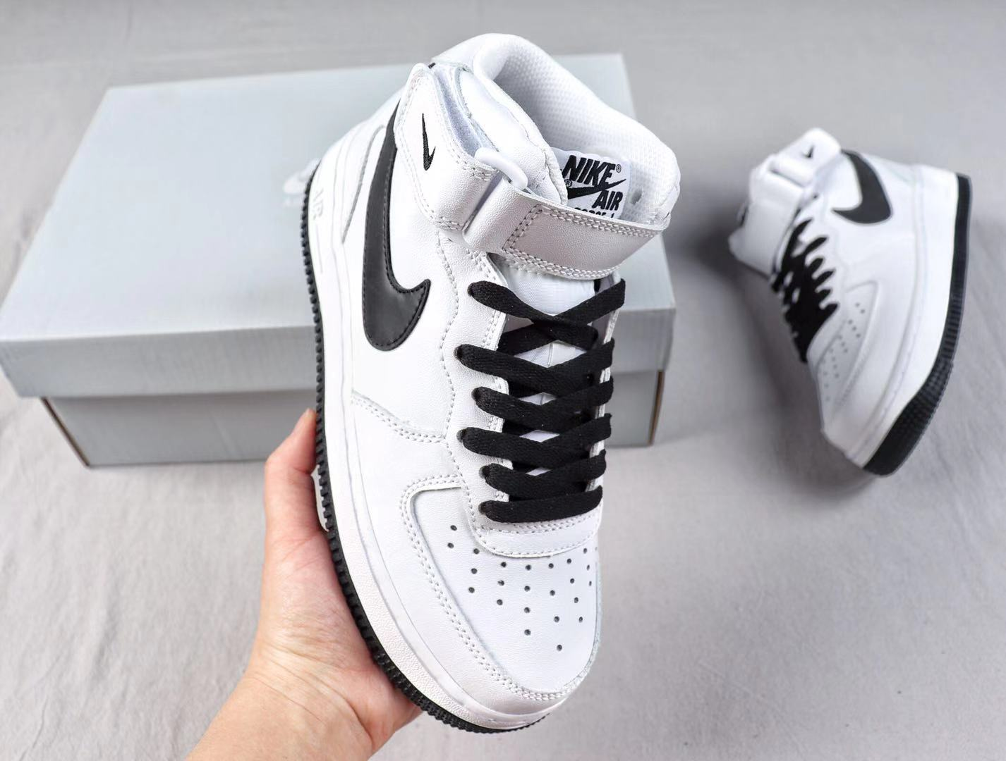 """Best Sell Nike Air Force 1'07 Mid """"Demon"""" White/Black Sneakers AT1118-629"""