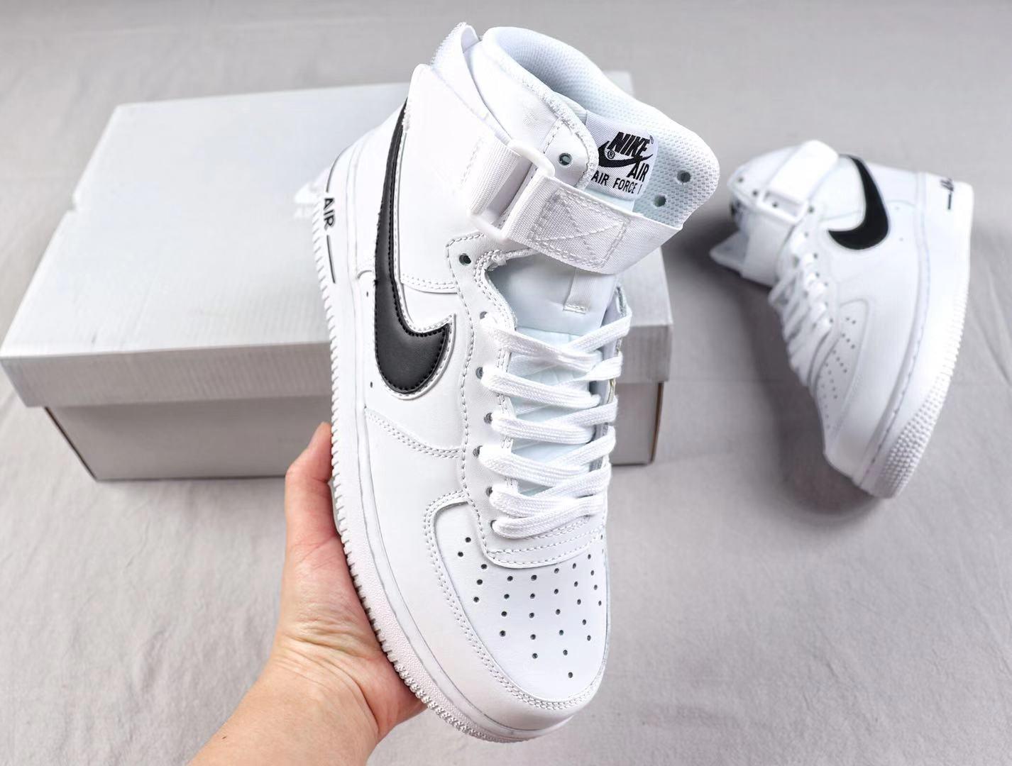 Best Sell Nike Air Force 1'07 High White/Black Fashion Shoes AT4141-108