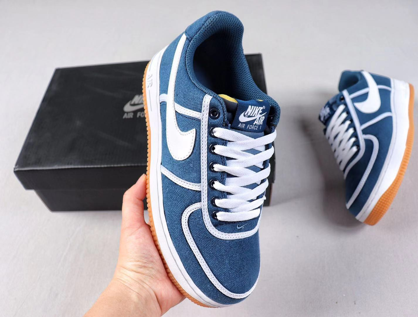 Buy Nike Wmns Air Force 1'07 CI9349-400 Armory Navy/White-Volt Top Shoes