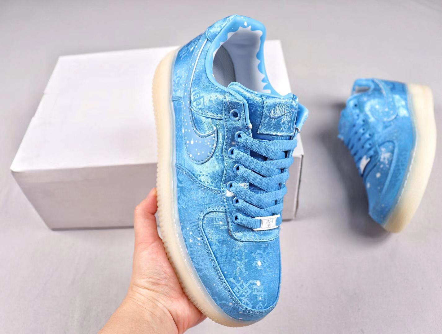 CLOT x Nike Air Force 1 Premium Classic All-Match Sneakers Blue Silk AO9286-411