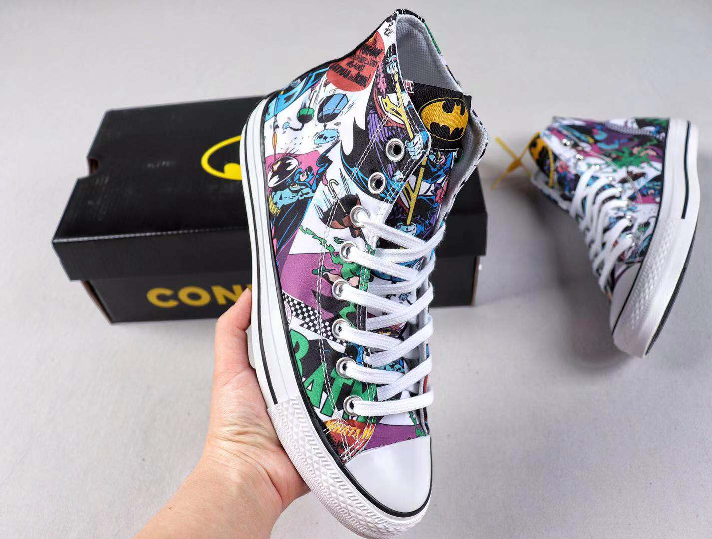 Converse x Batman Canvas Uppers Top Shoes Hot Selling