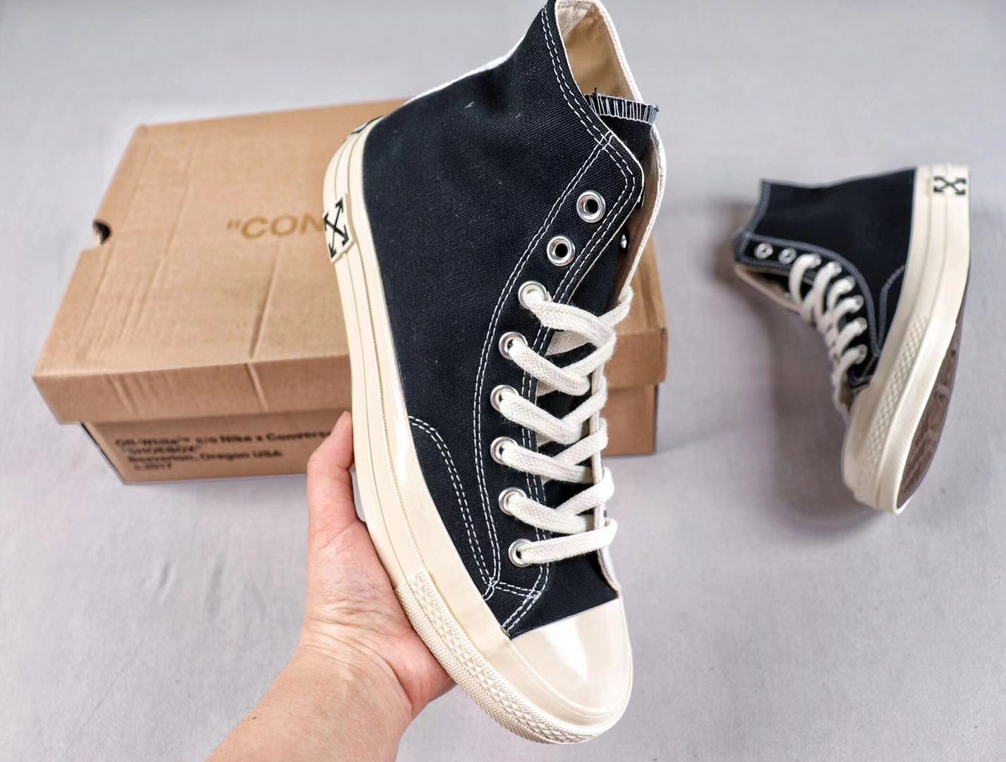 Converse x Off White 163862C White/Black New High Shoes Free Shipping