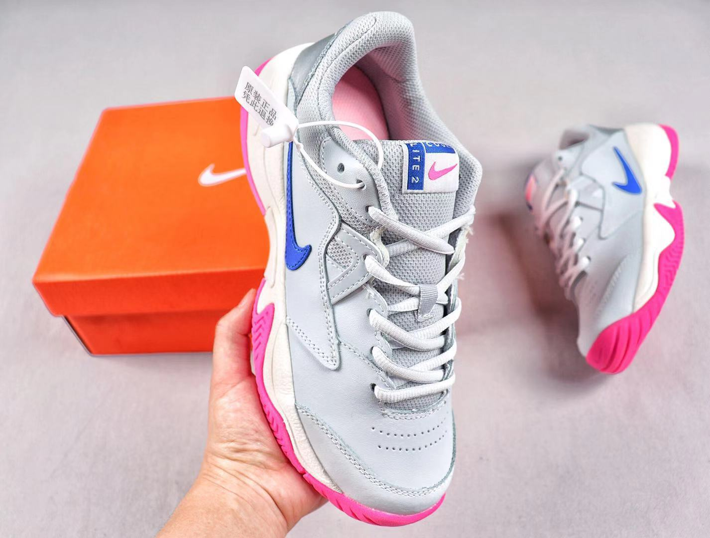 Discount Nike Court Lite 2 AR8838-001 Tennis Shoes Pure Platinum/Racer Blue