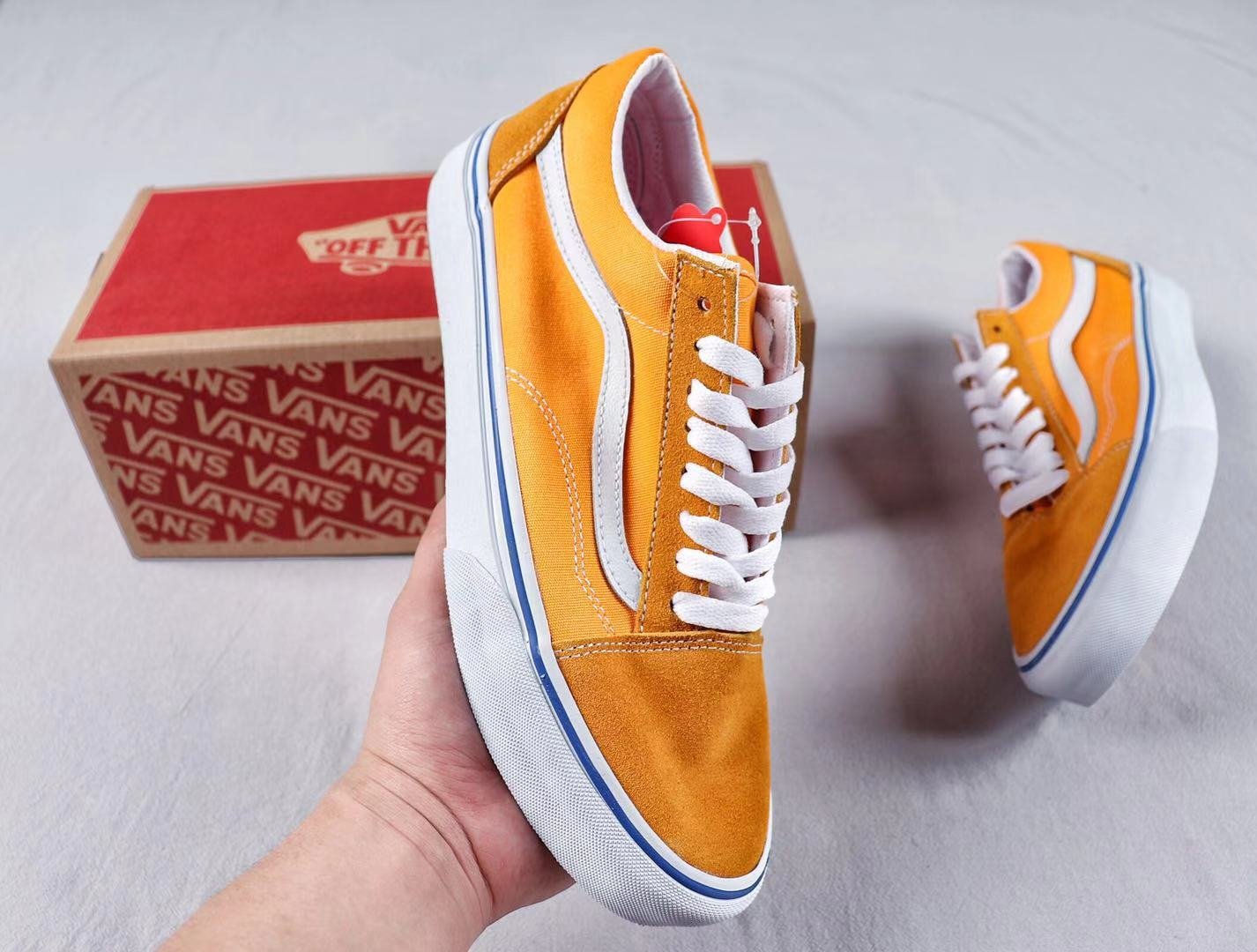Discount Vans Old School Low Ochre/True White Mens And Womens Size Shoes