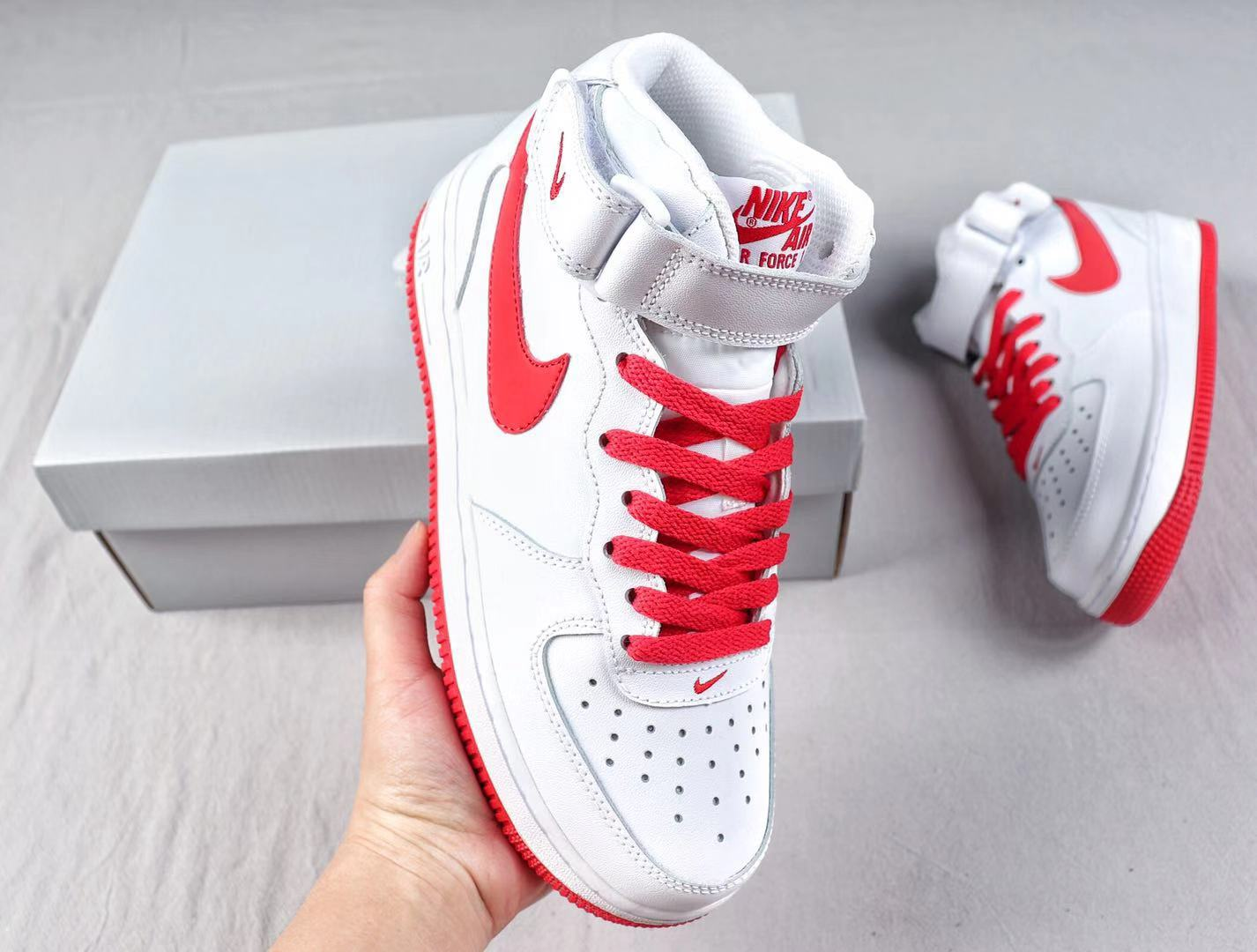 """Nike Air Force 1'07 Mid """"Demon"""" White/Red Sneakers Online Sale AQ8650-105"""