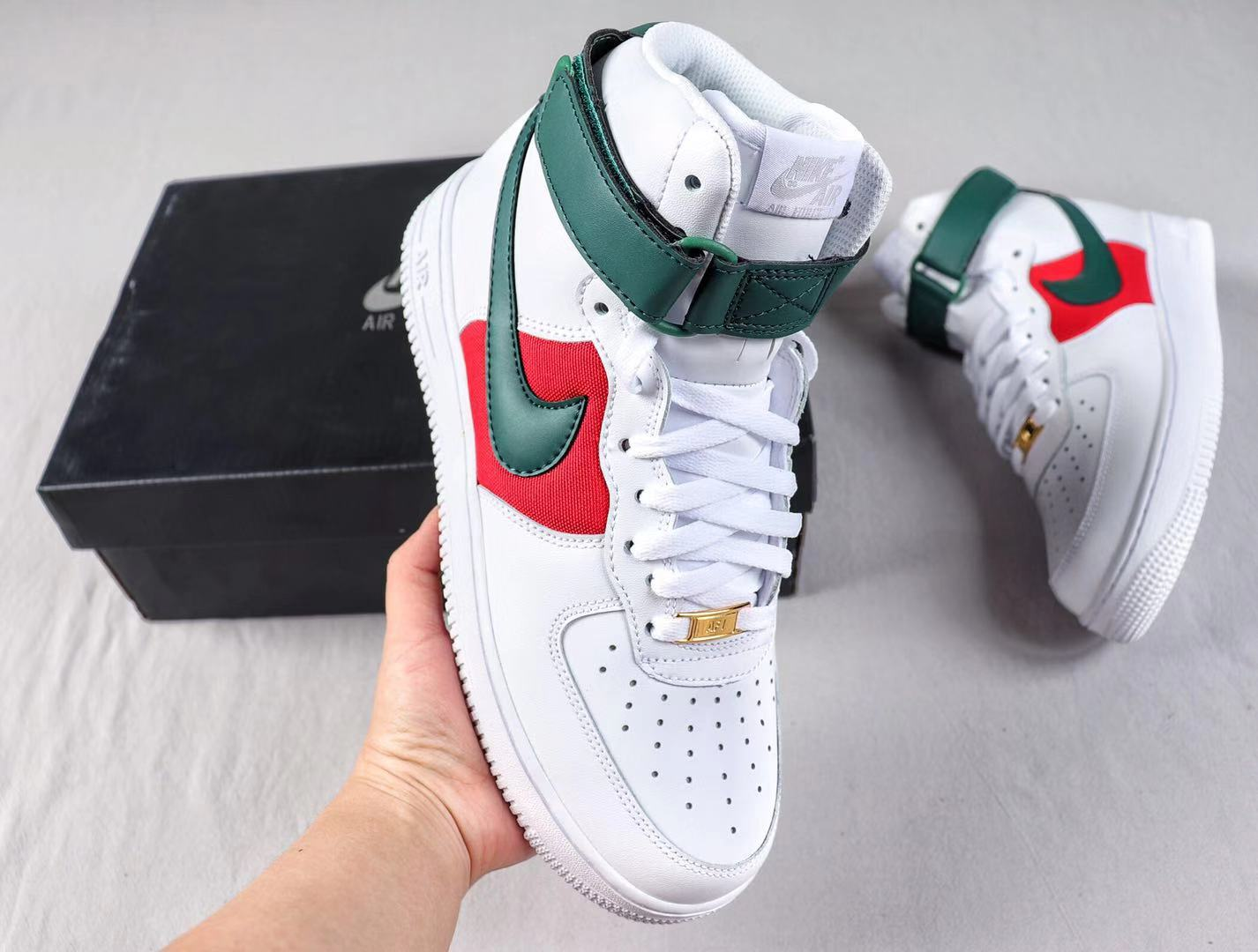 Nike Air Force 1 High White/Green-Red Fashion Sneakers To Buy CK4580-100