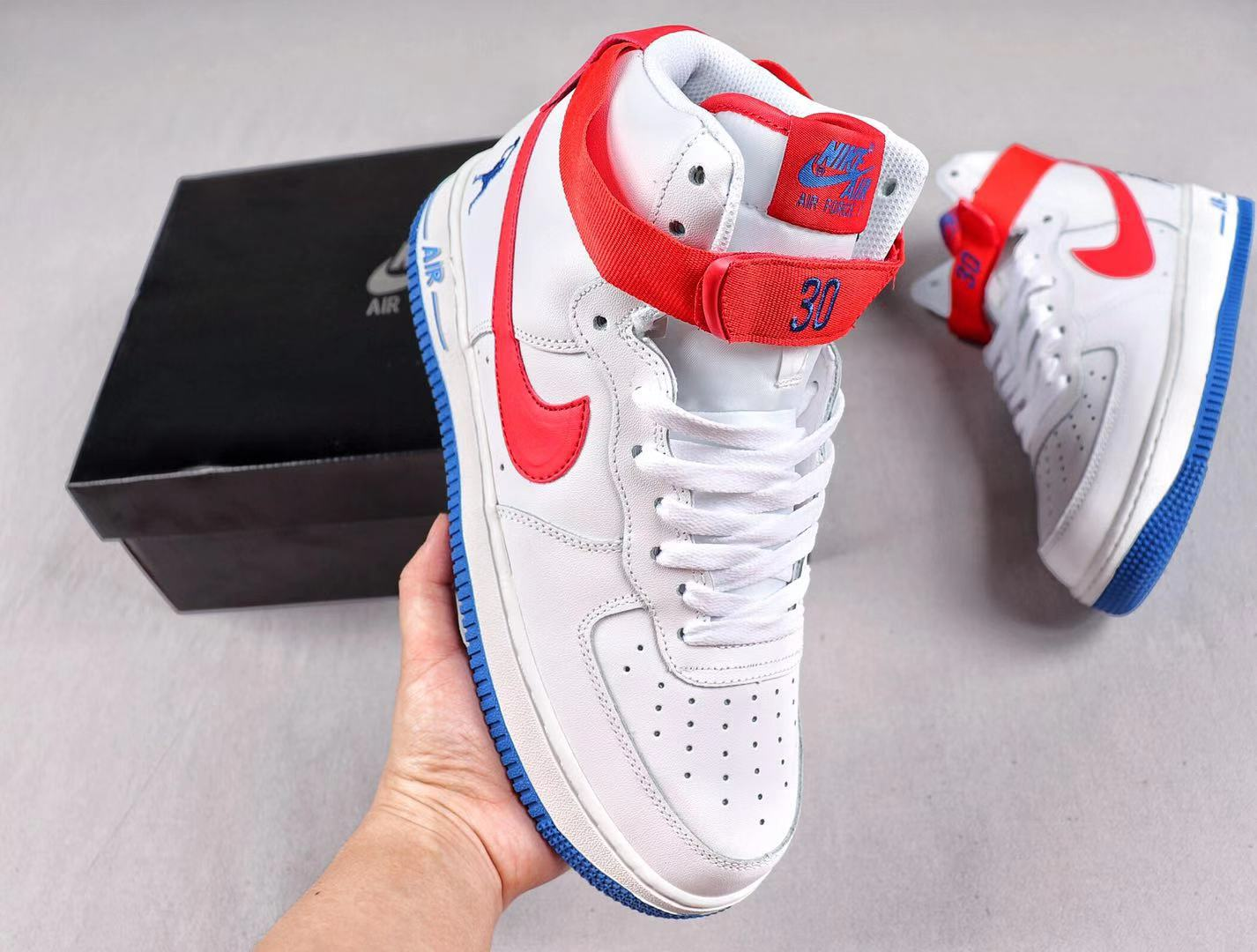 """Nike Air Force 1 High Retro """"Rude Awakening"""" White/Red-Blue Sneakers Sale AT2528-316"""
