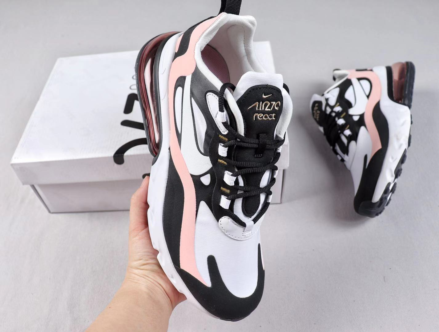 "Nike Air‎ Max 270‎ React ""Bauhaus"" AO4971-005 White/Black-Pink Cheap Sale"