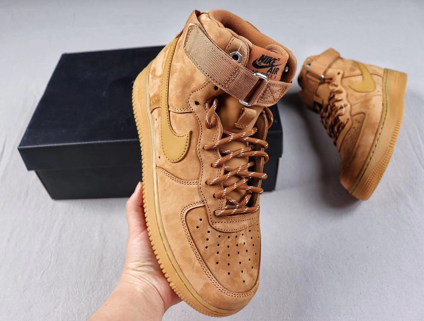 Nike Air Force 1 High Flax/Wheat-Outdoor Green-Gum Light Brown Free Shipping