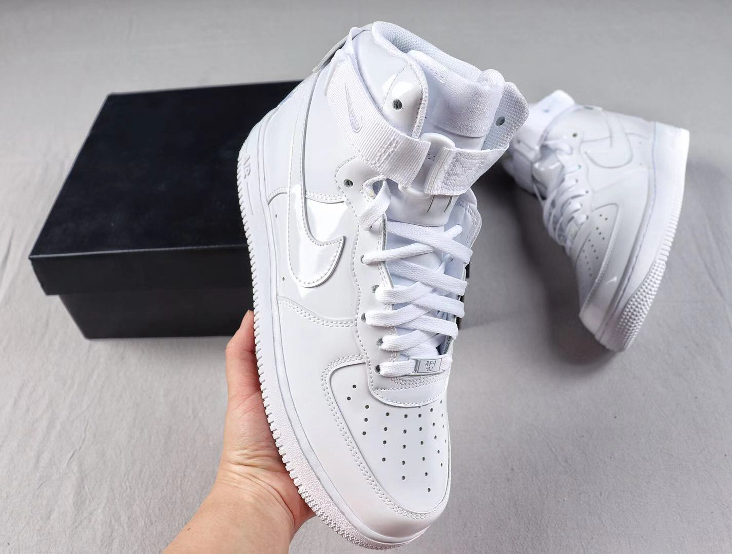 Nike Air Force 1 High QS White/White Sneakers Free Shipping 743546-107