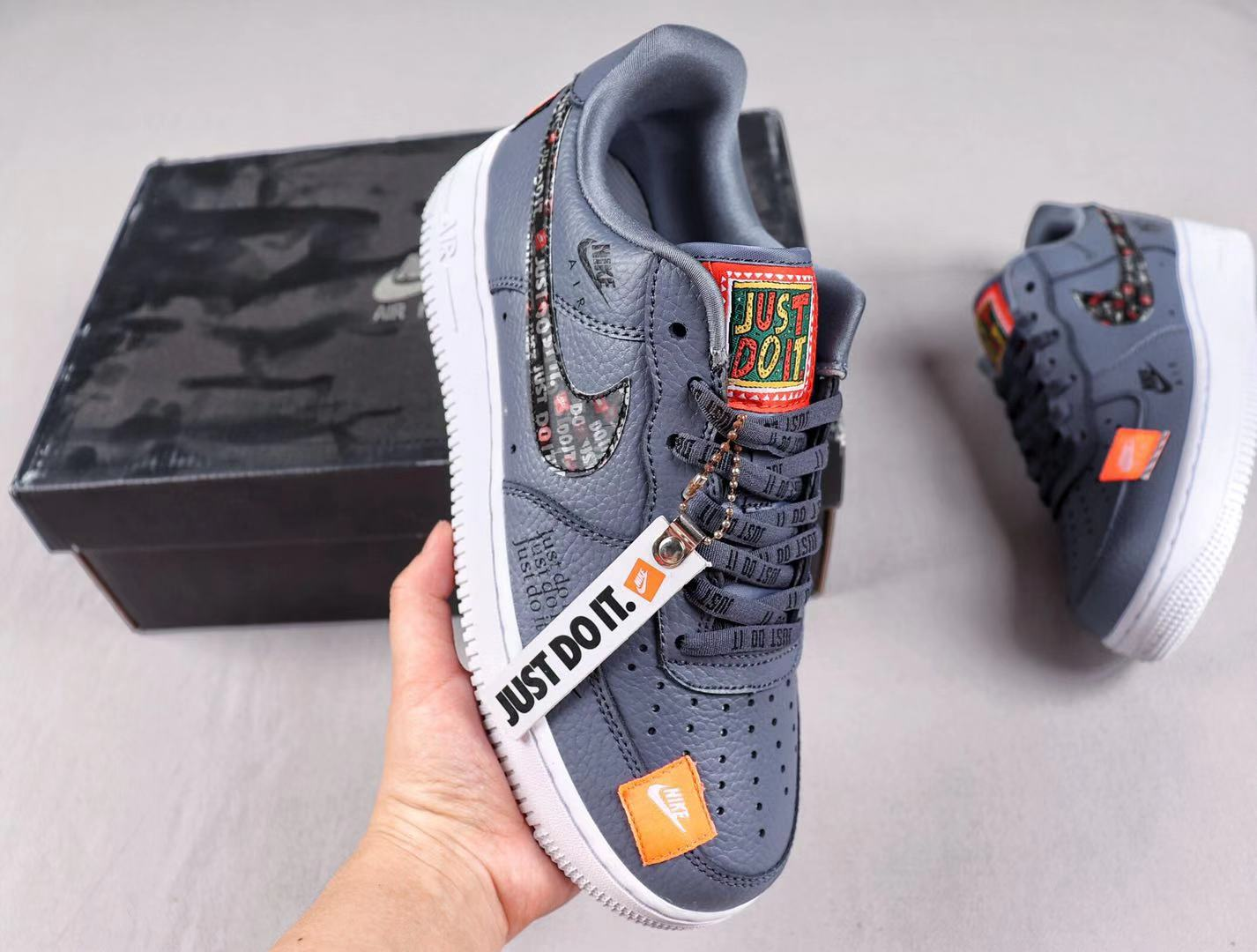 """Nike Air Force 1 Low """"Just Do It"""" AR7719-103 Brand New Grey Sneakers"""