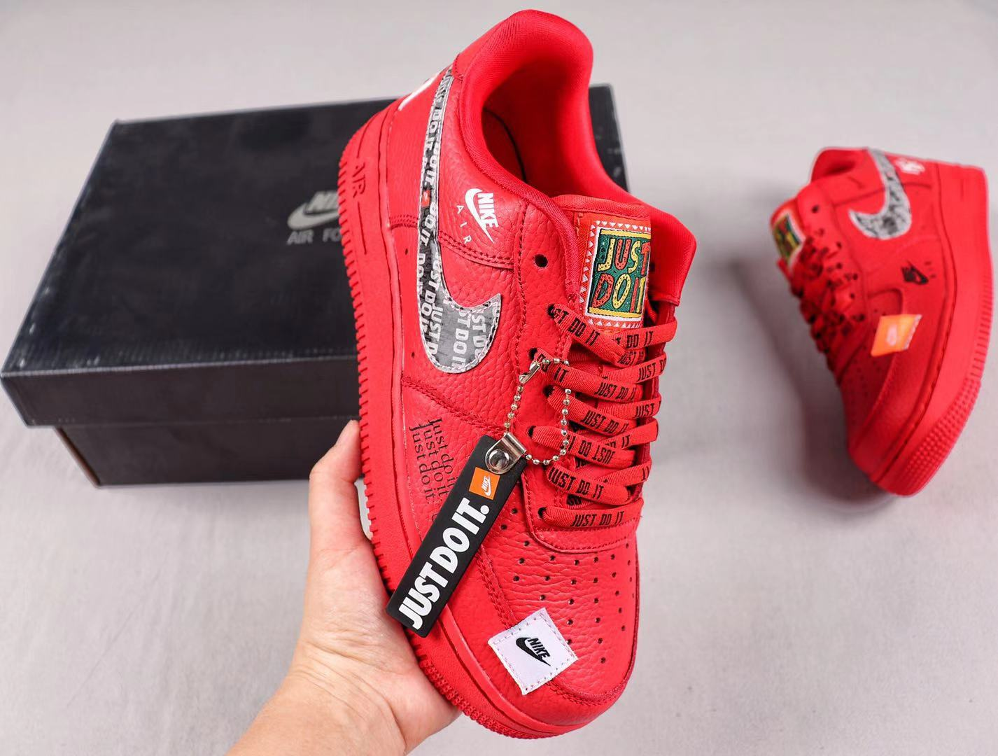 """Nike Air Force 1 Low """"Just Do It"""" Red Men's Sneakers Cheap Price AR7719-006"""