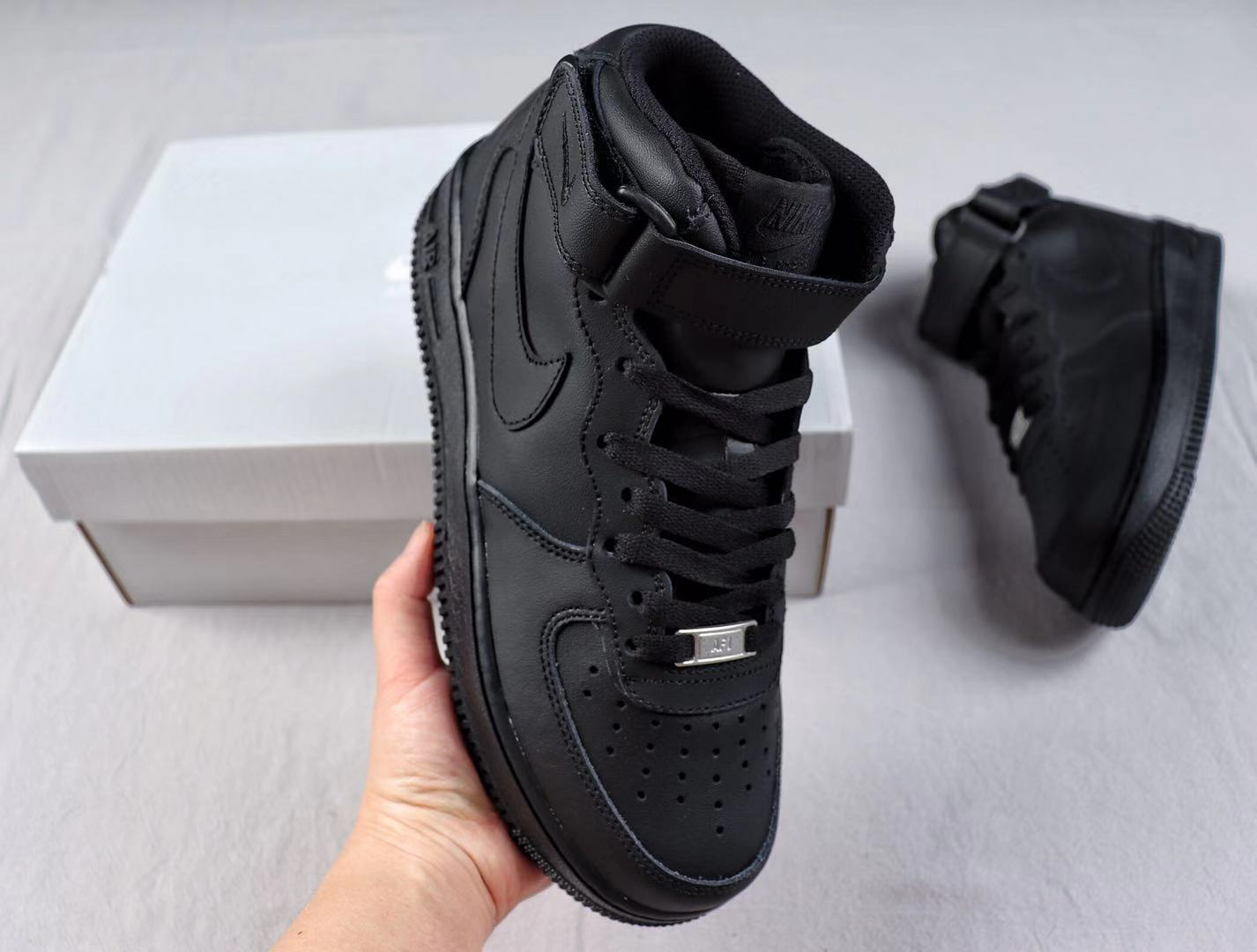 Nike Air Force 1 Mid Black/Black Leather Shoes To Buy 315123-001