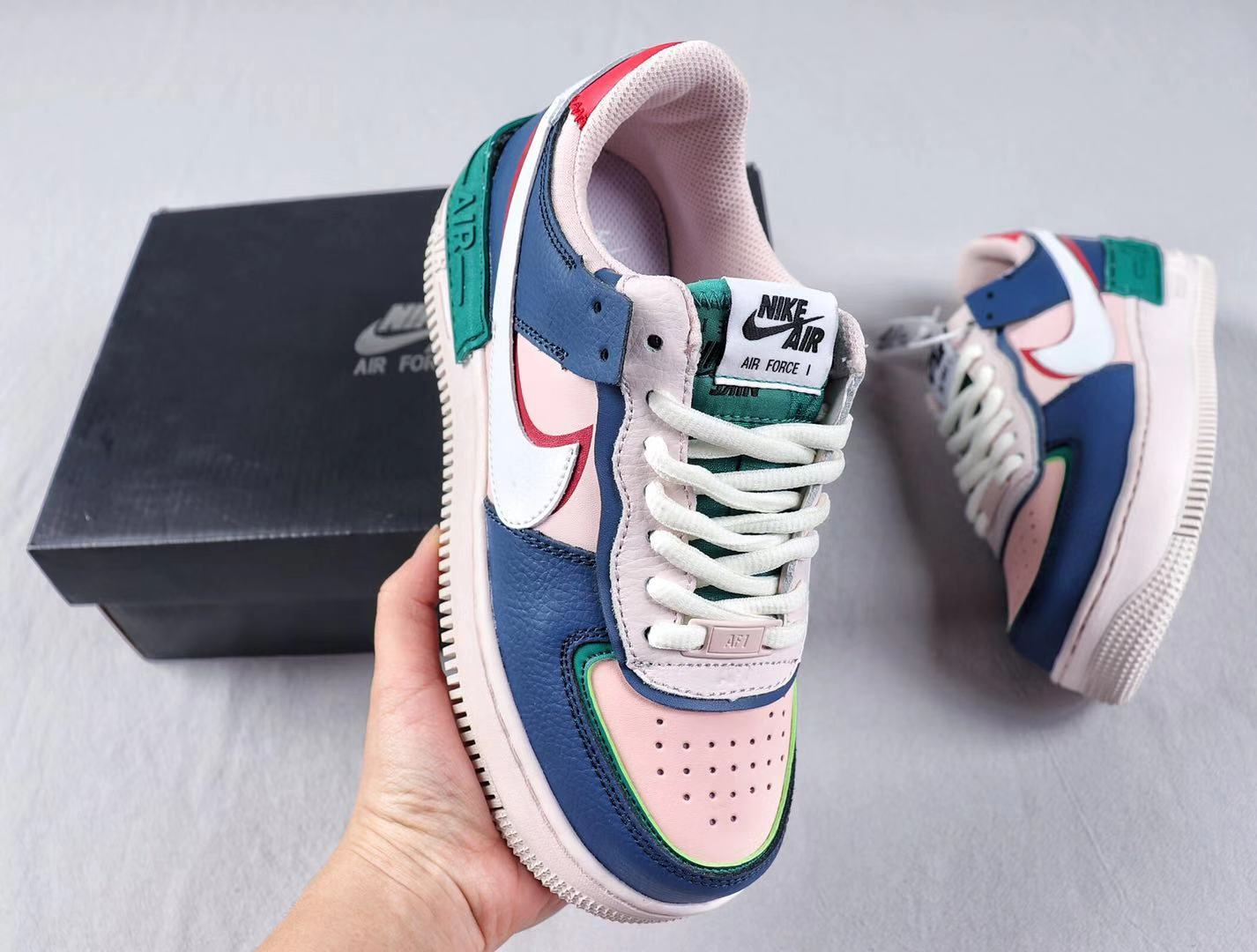 """Nike Air Force 1 """"Shadow"""" Mystic Navy/White-Echo Pink-Gym Red CI0919-400"""