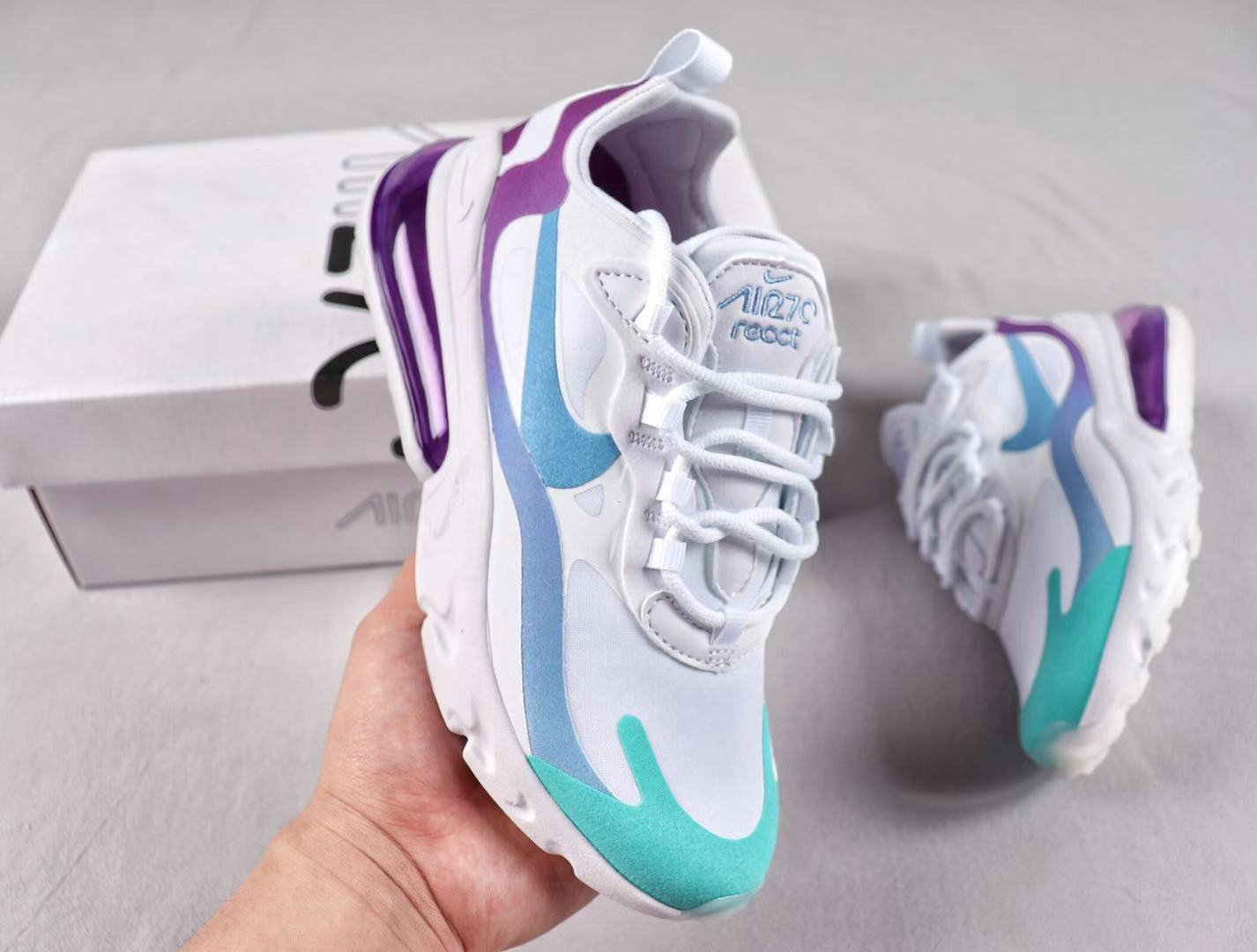 "Nike Air Max 270 React ""Gradient Shift"" AT6174-102 Sneakers Free Shipping"