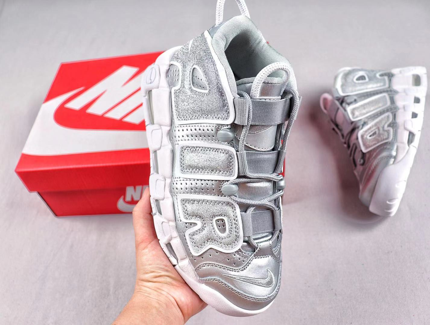 """Nike Air More Uptempo """"Metallic Silver"""" Sneakers Online Sale 917593-003"""