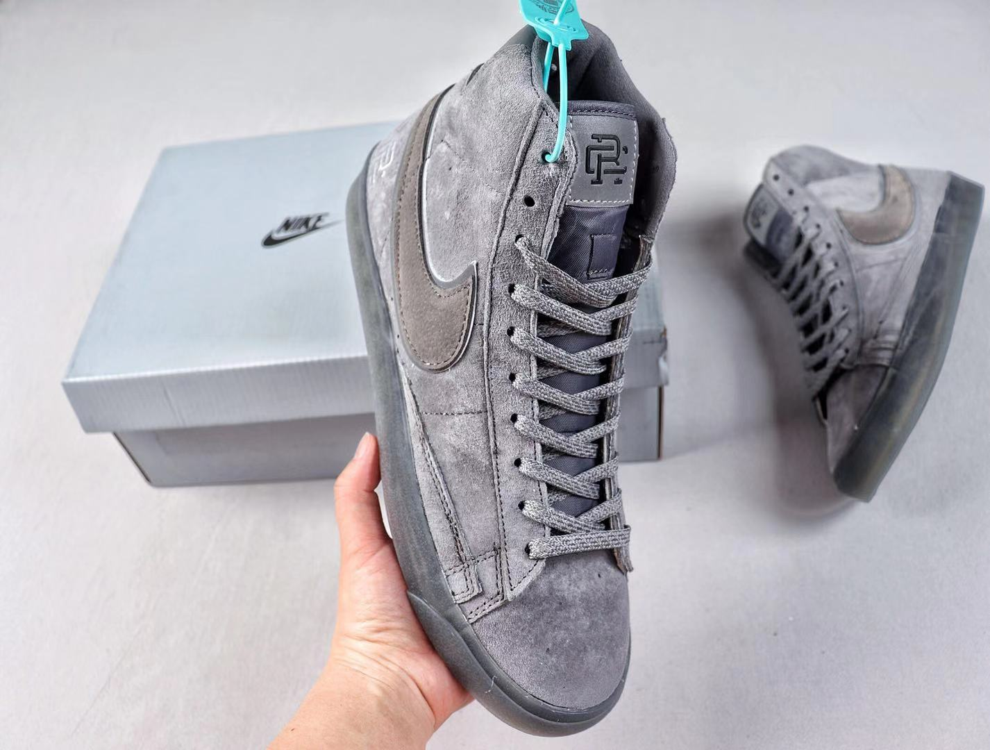 """Nike Blazer Mid """"Reigning Champ"""" Grey/Deep Grey Suede Top Shoes To Buy 371761-009"""