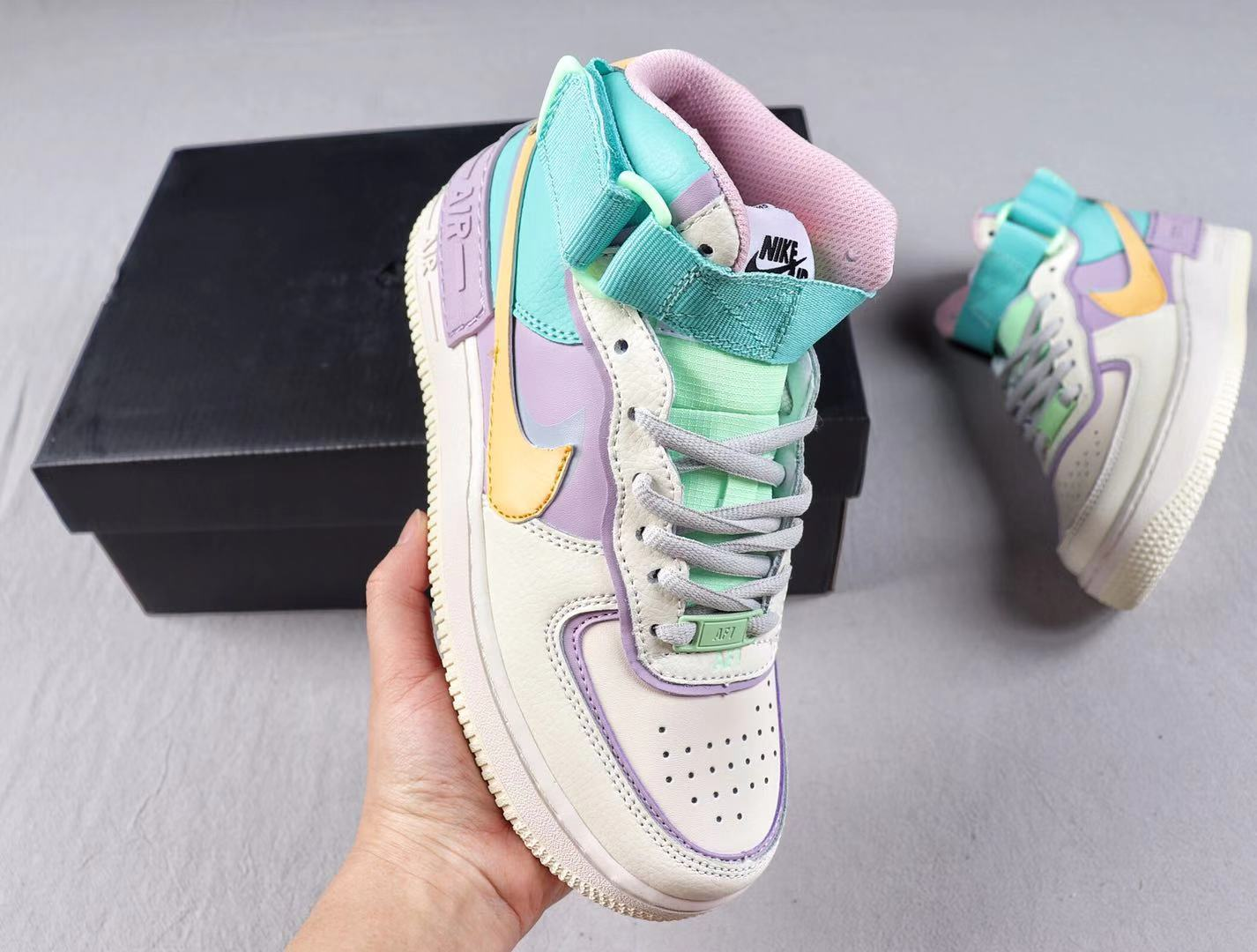 Nike Wmns Air Force 1 Shadow AF1 White/Pink-Purple Sneakers Hot Selling