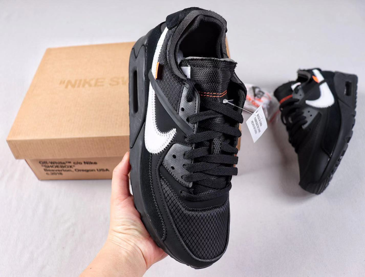 OFF-WHITE x Nike Air Max 90 Black/Cone-White Sneakers In Stock AA7293-001