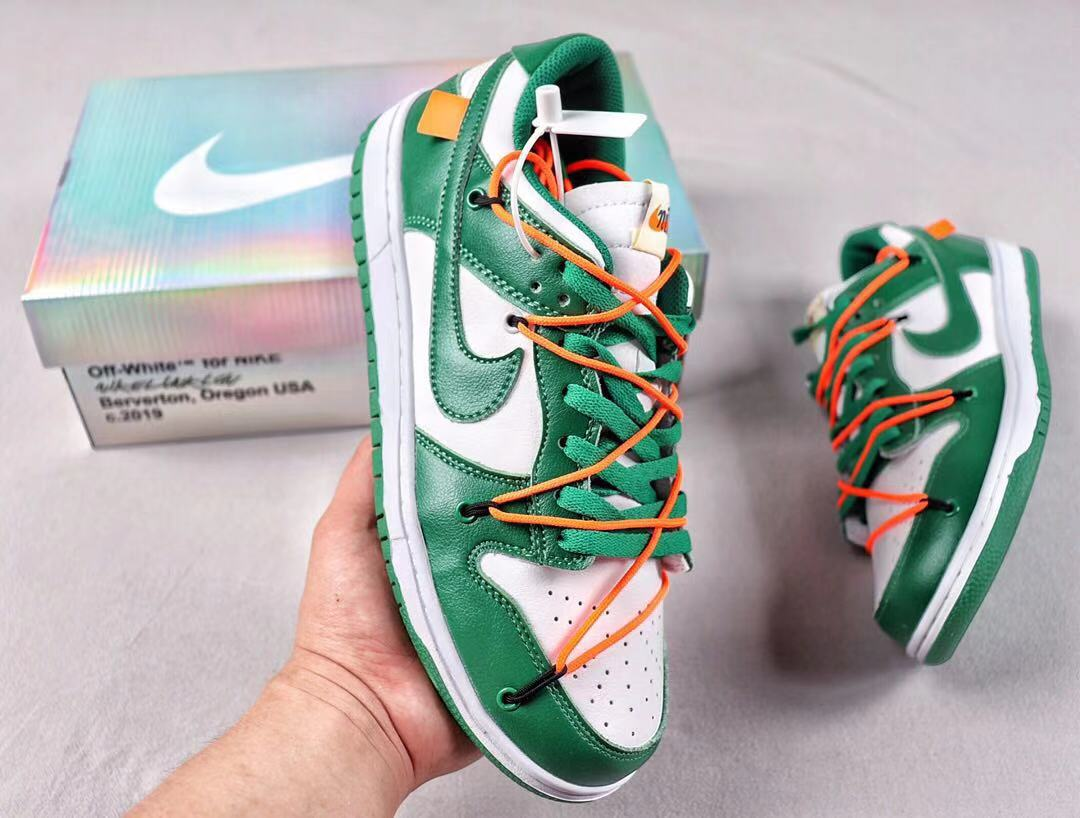 """Off-White x Nike Dunk Low CT0856-100 """"Pine Green"""" Men's Skate Boarding Shoes"""