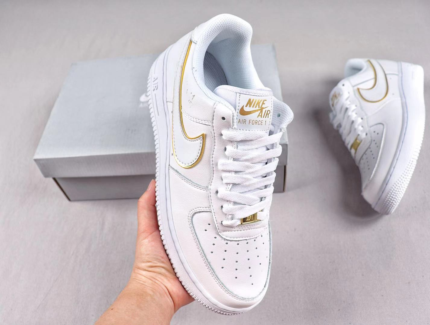 Popular Nike Air Force 1 Low White/Gold Sneakers In Stock AO2132-101