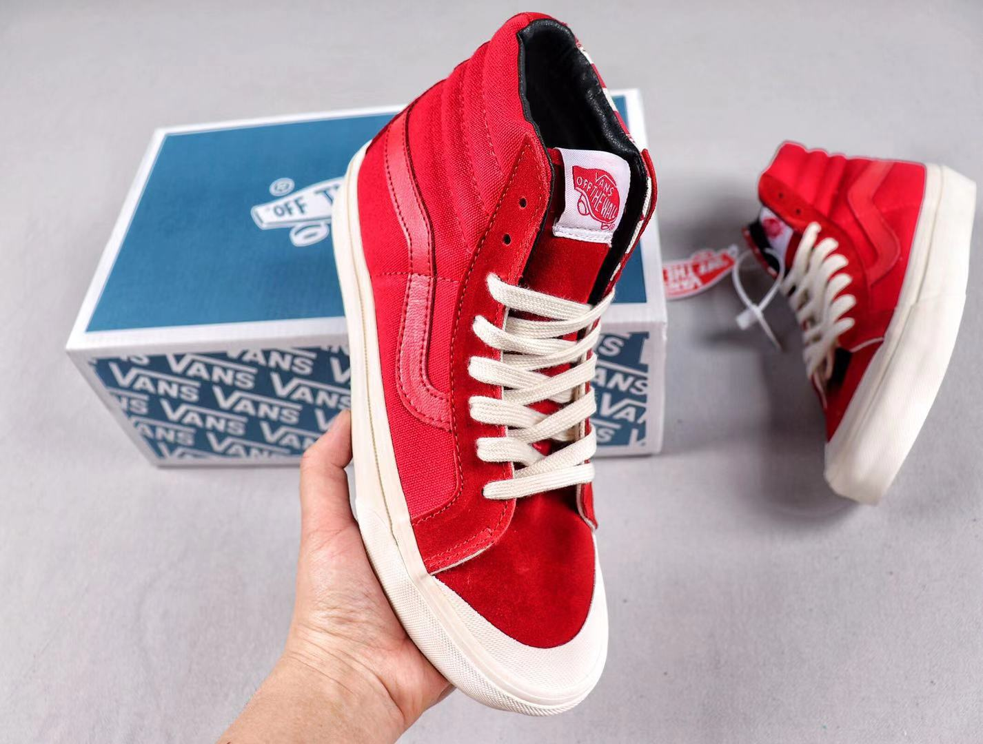 Vans OG Style 138 LX Racing Red/Checkerboard-White New Style Sneakers