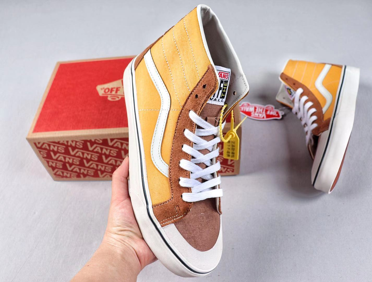 Vans SK8-Hi Core Classics Trainers Yellow/Brown-White For Online Sale