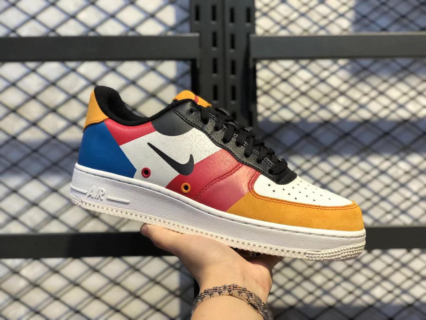 2020 High Quality Nike Air Force 1 Low Sail/Black-Imperial Blue-Amber Rise