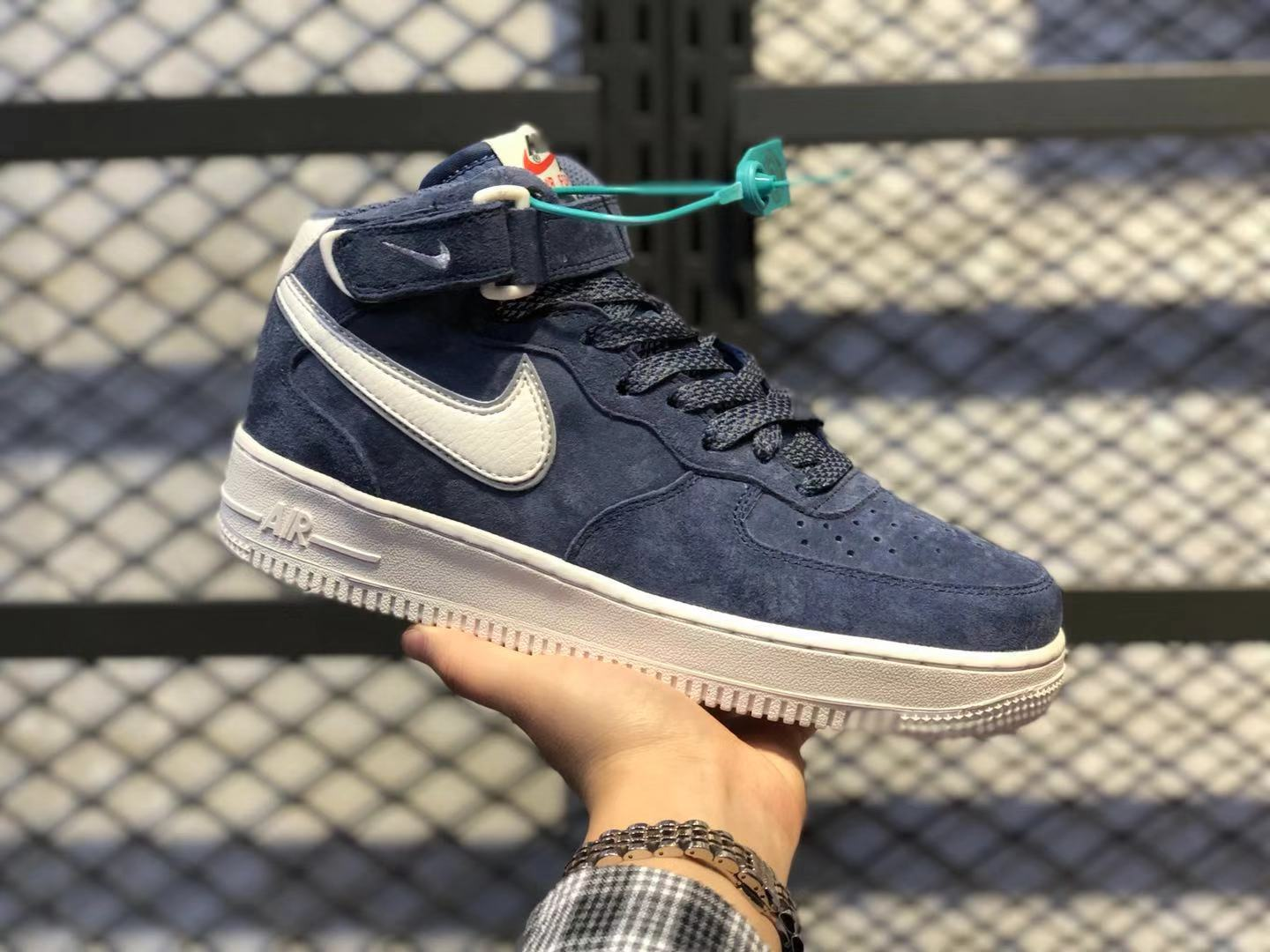 2020 New Nike Air Force 1 Mid AA1118-007 Navy Blue/White For Online Sale