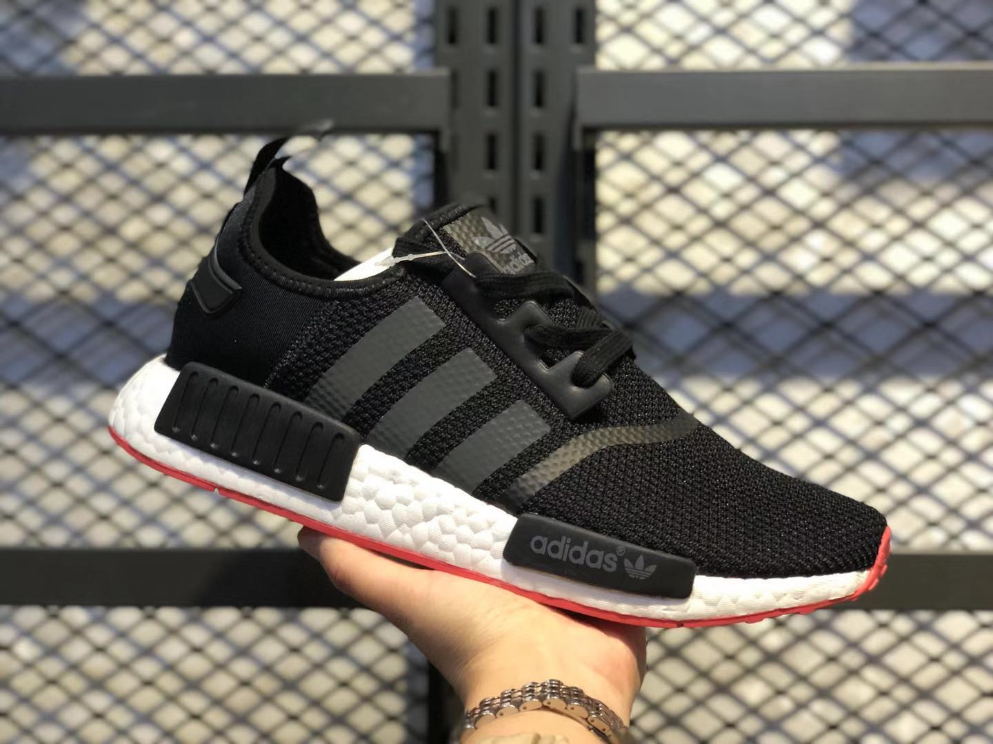 Adidas NMD R1 Black/White-Red 2019 Newest Running Shoes Online Buy CQ2040