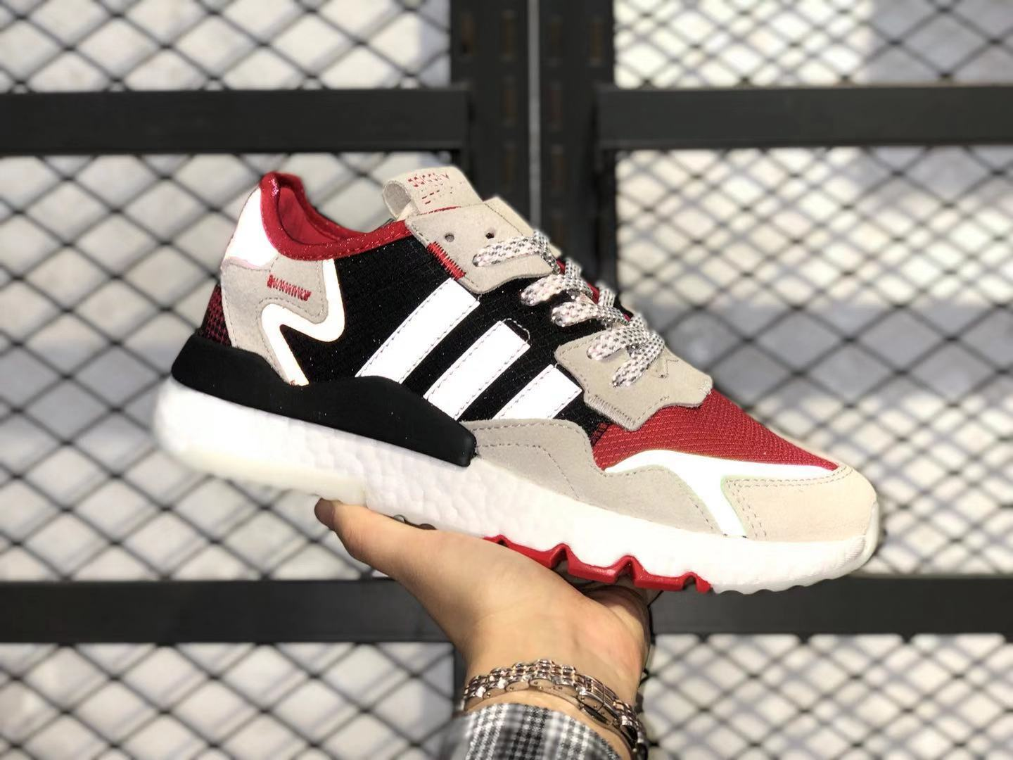 Adidas Nite Jogger Boost FV3872 Scarle/Black-Crywht Athletic Sneakers In Stock