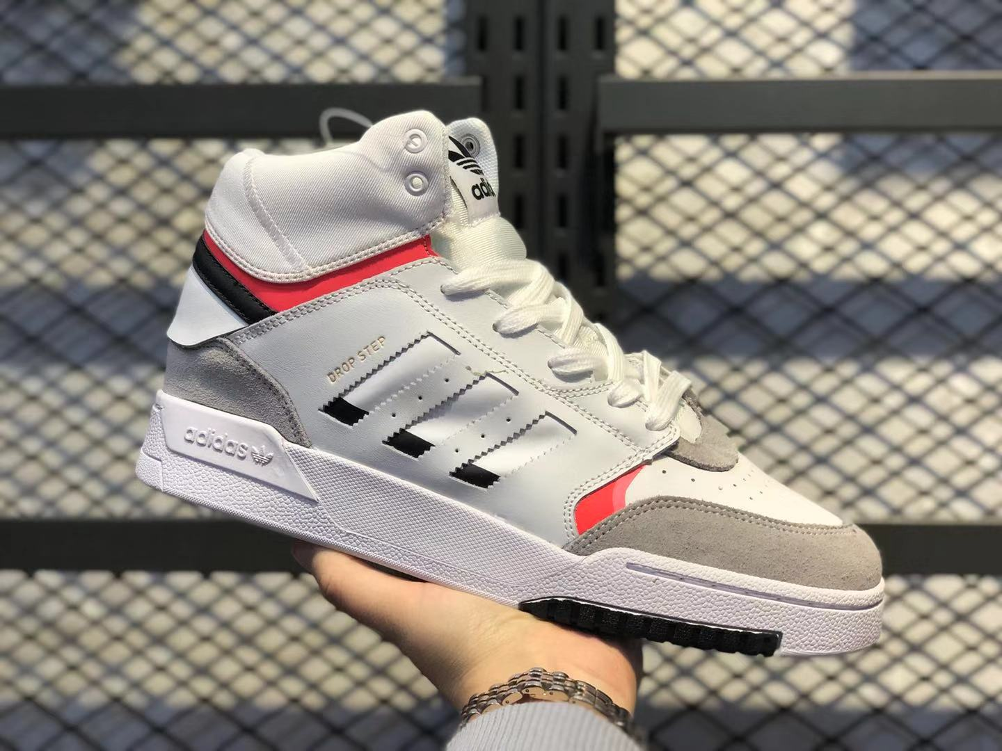 Adidas Originals Drop Step Cloud White/Wolf Grey-Gym Red Sneakers On Sale
