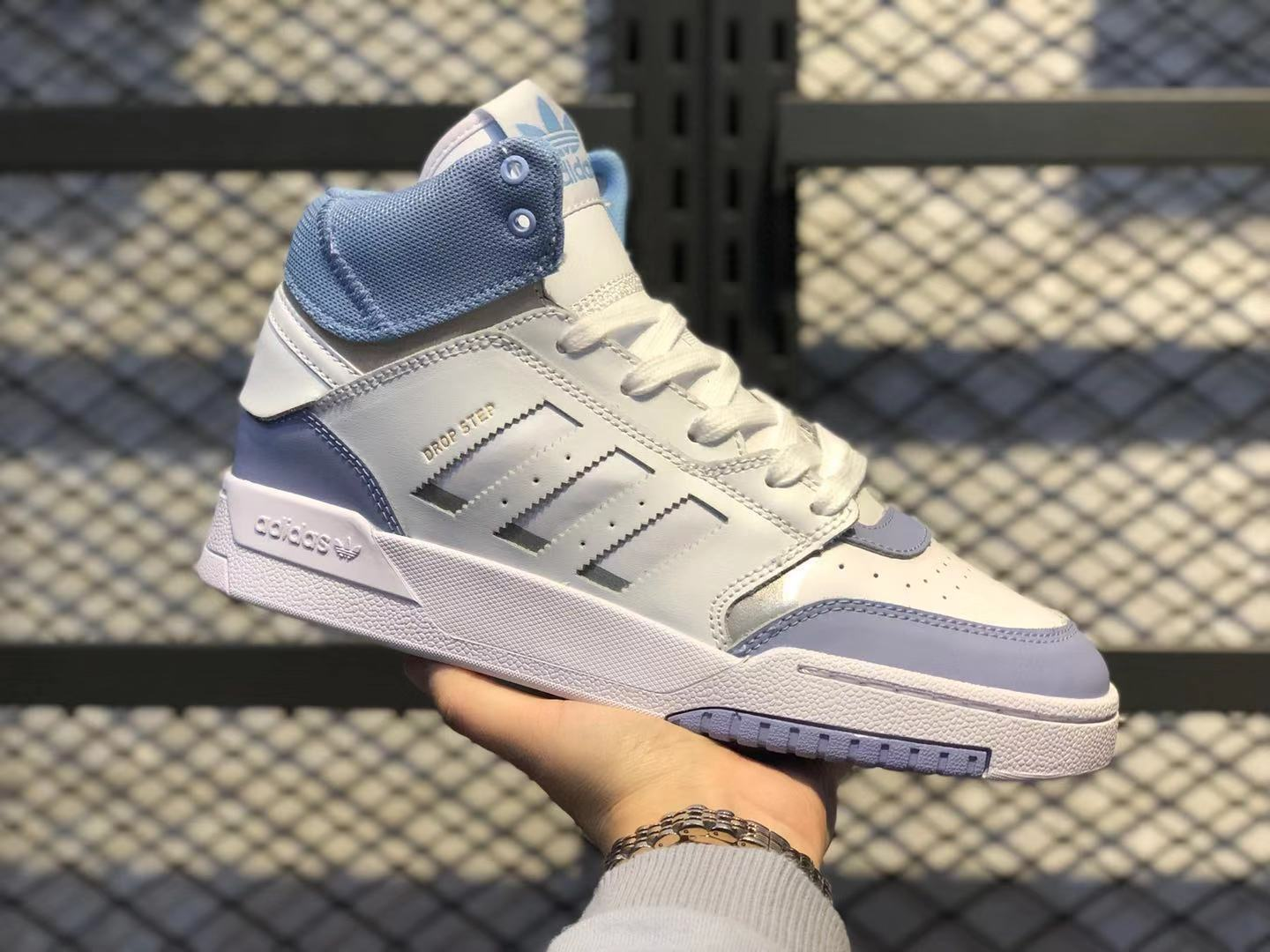 Adidas Originals Drop Step White/Blue-Metallic Silver Sneakers For Sale