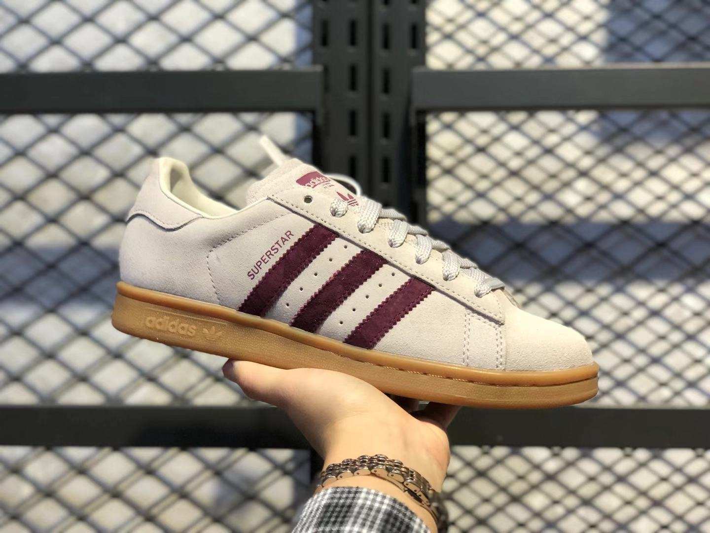Adidas Superstar BD7437 White/Wine Red Life Classic Shoes Free Shipping