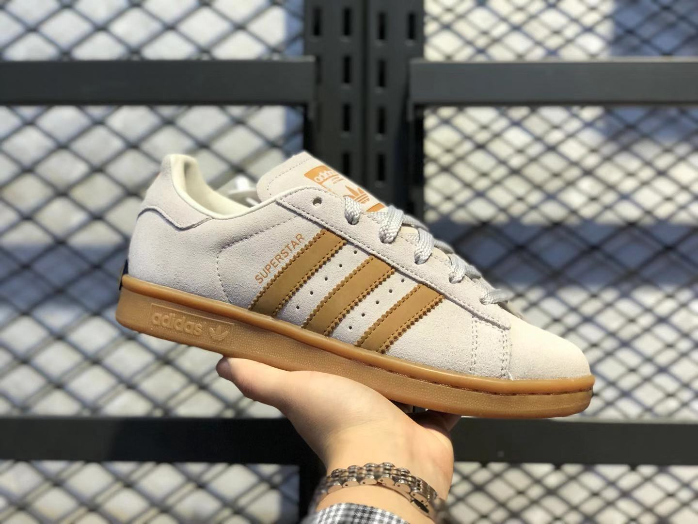 Adidas Superstar Low BD7438 Cream White/Brown Life Classic Shoes Cheap Sale