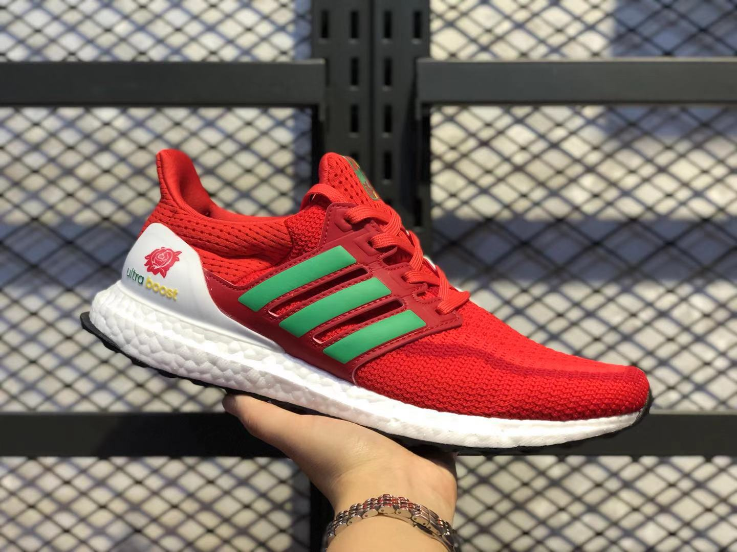Adidas Ultra Boost University Red/White-Green Sneakers Super Deals